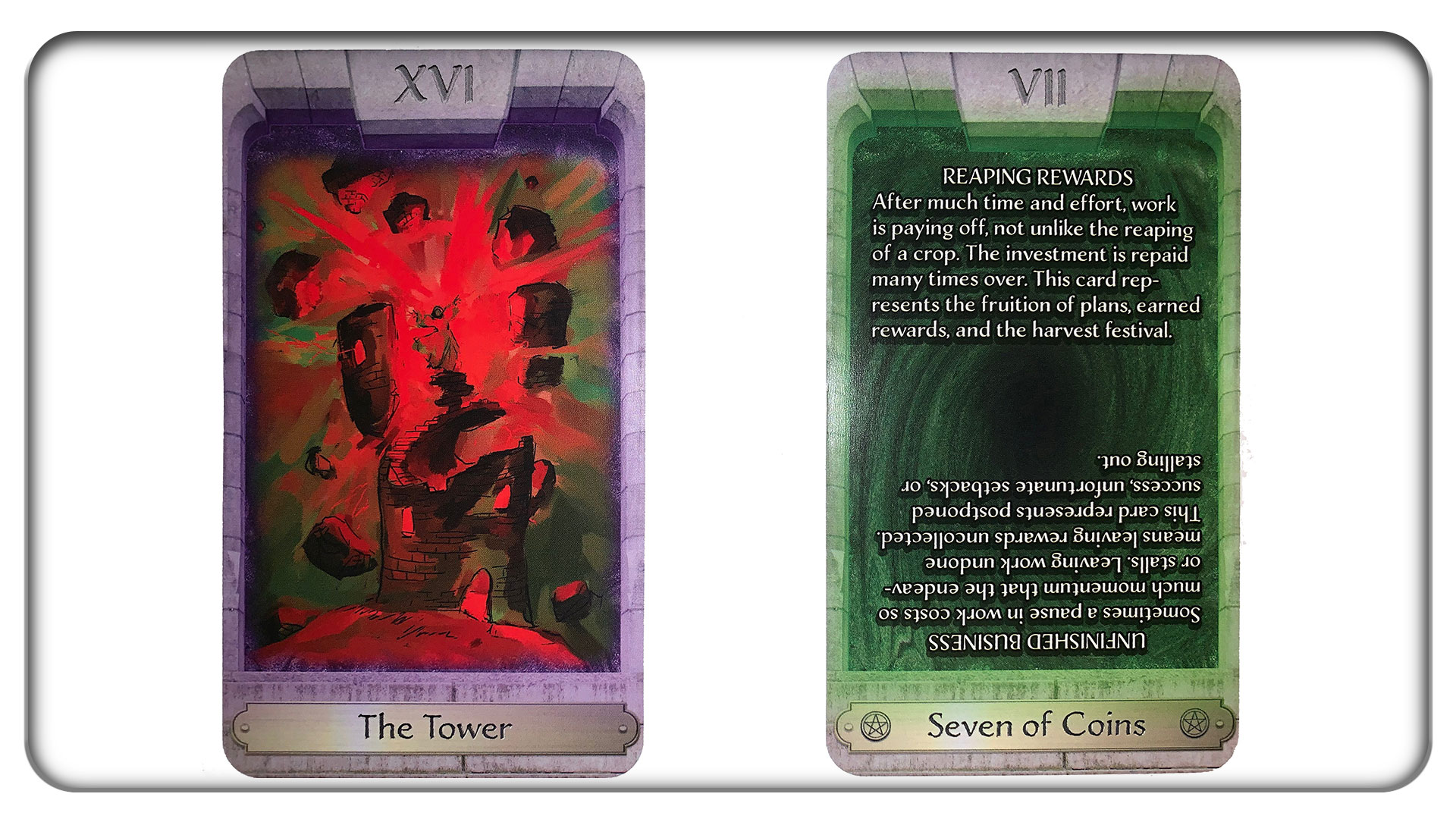 Left: One of the 22 fully-illustrated Major Arcana. Right: One of the 56 Minor Arcana, with explanatory text.