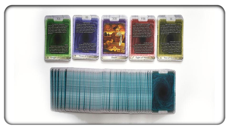 Samples of each Minor Arcana suit, the Major Arcana, and the card backs.
