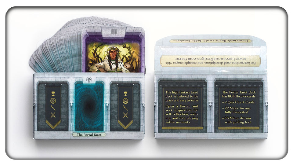 The Portal Tarot, and the front and back of the tuck box, which unfolds to reveal hidden knowledge!
