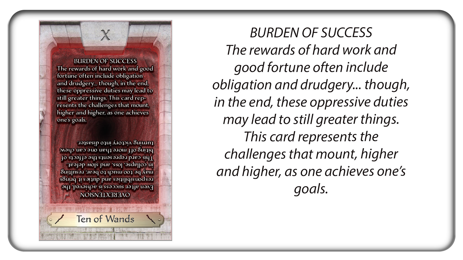 The Ten of Wands: Burden of Success