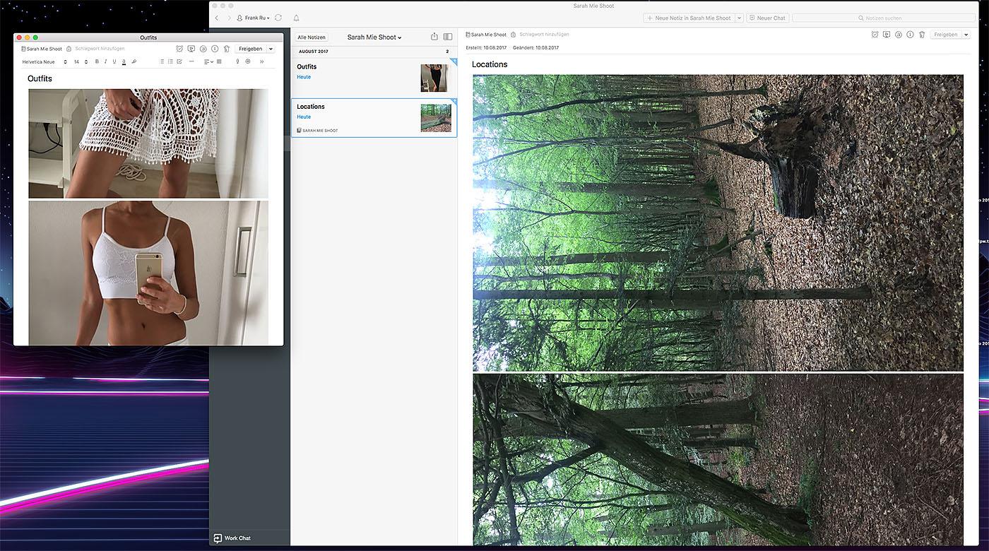 Screenshot meines Evernote-Notizbuches für das Fotoshoot mit Sarah im Wald