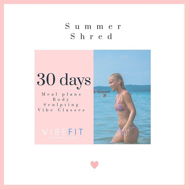 Who wants to shred some unwanted Fat this summer? 🙋♀️🙋♀️ Who wants to save $25 before July 1st? 🙋♀️🙋♀️  Discount Code: shred25  30 Day Summer Shred - $275 ✔️ Meal Plans & Recipes  ✔️ 8 Semi Private Vibe Training Classes  ✔️ 4 Lipo Light Body Sculpting Treatments with the power of red light therapy. You Fat doesn't have a chance 😉  Tag your friends! We are going to kill it this summer!!! #fitfam #shredfat #letsdothis #goodvibes #summervibes 