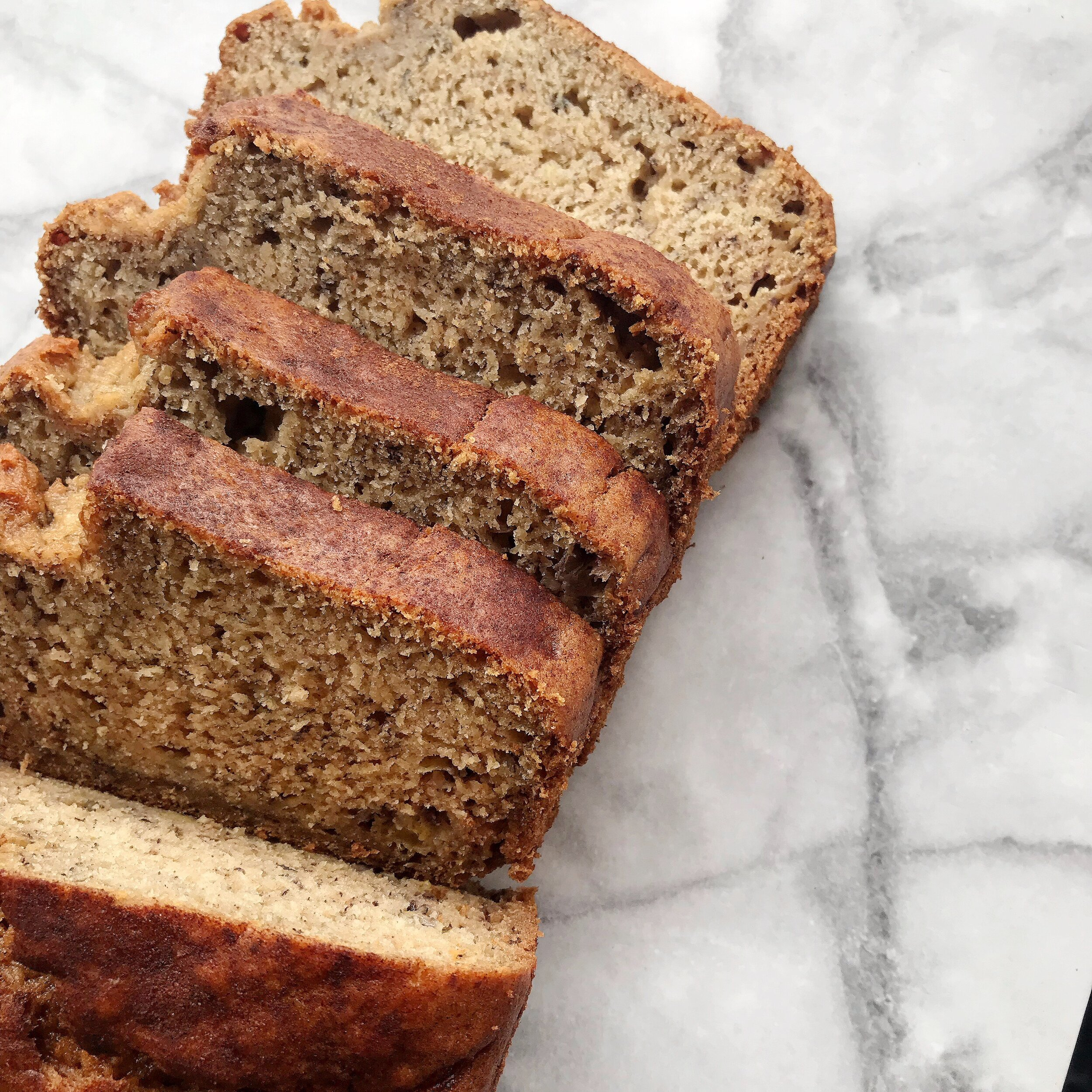 Better For You Banana Bread - 1/3 cup melted coconut oil + 1/2 cup maple syrup + 2 eggs + 1 cup mashed ripe bananas + 1/4 cup almond milk + 1 tsp. baking soda + 1 tsp. vanilla + 1/2 tsp. salt + 1/2 tsp. ground cinnamon + 1 3/4 cups whole wheat flourPreheat oven to 325 degrees Fahrenheit and grease a 9x5 inch loaf panIn a large bowl mix together the eggs, honey, and oil, then add the mashed bananas and milk. Add in the baking soda, vanilla, salt, and cinnamon and whisk to blend. Lastly, mix in the flour until combined.Pour the batter into your pan and sprinkle lightly with cinnamonBake for 55- 60 minutes or until a toothpick is inserted into the middle and comes out clean. Let the bread cool in the loaf pan for 10 minutes!