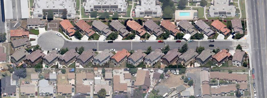 """Kemp Court, Compton, CA  Residential: """"Z-zero"""" lot-line patio-homes, 3-entry level plans, 1,600-sf to 2,000-sf on 3,500-sf lots atin-fill site."""