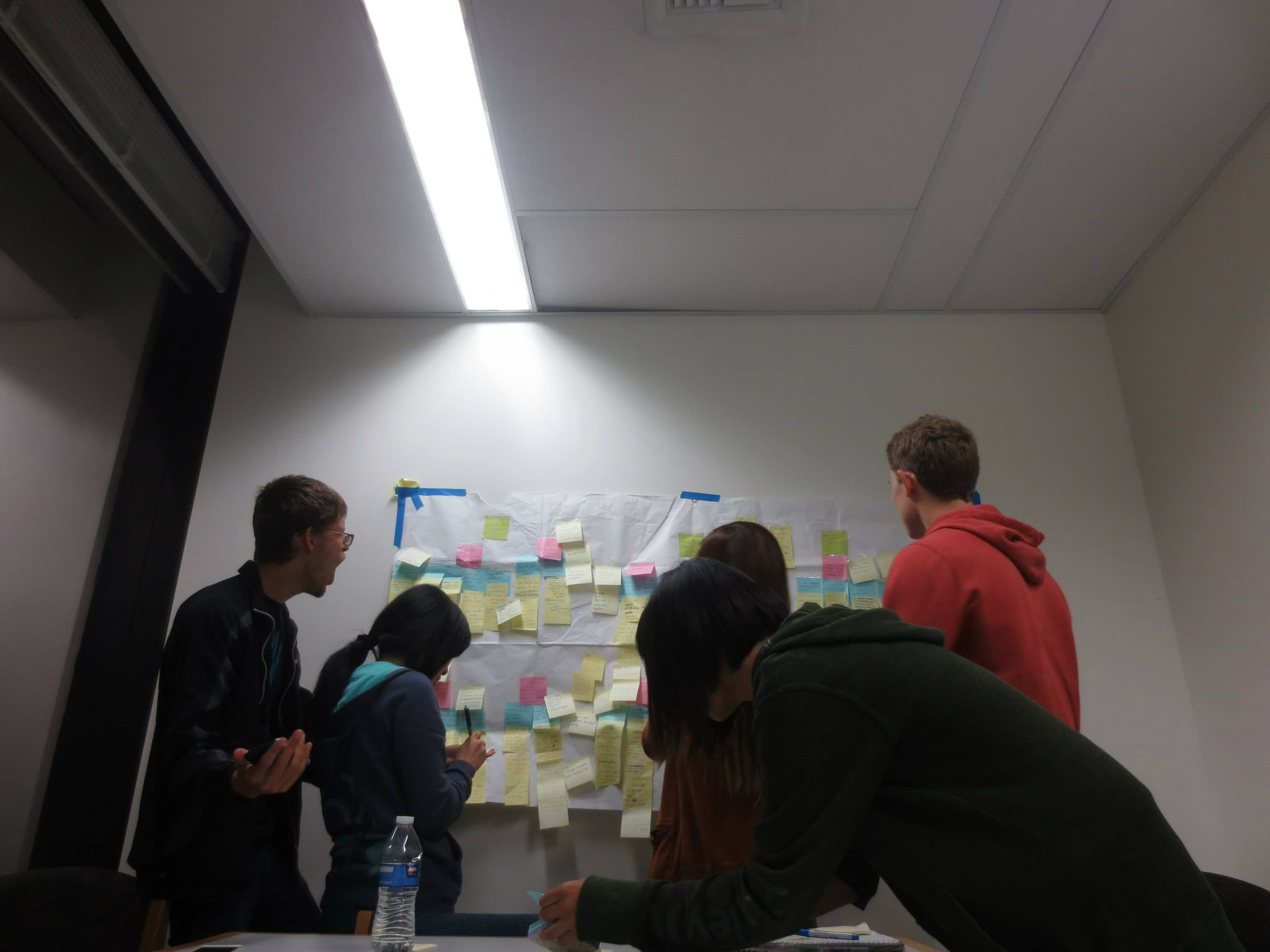 The team, gathered round the affinity diagram, mining for insights and looking goofy.