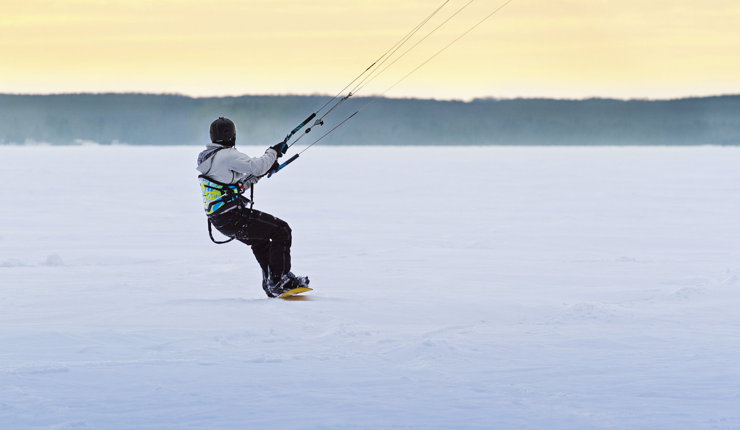 Snowkiting on Indian Lake in the Upper Peninsula of Michigan