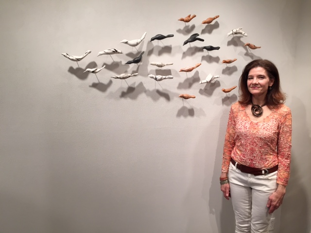 Opening at Massoni gallery with Murmuration flock, April 3, 2015