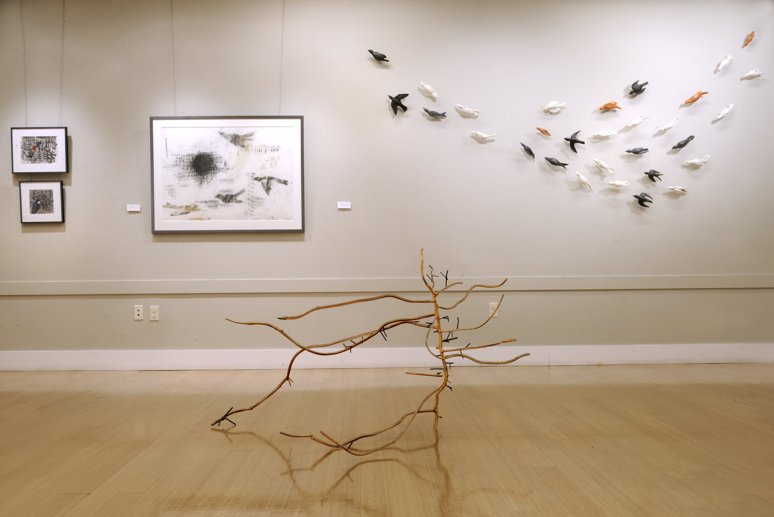 S Hostetler mumuration installation wall with DLuttwak sculpture.jpg