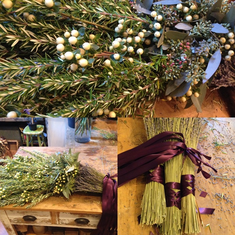 We like traditional casket sprays, but we love the alternatives--huge bundles and garlands of rosemary, lavender, and eucalyptus tied with biodegradeable silk ribbon, all thanks to the smart design team at  Zuzu's Petals  in Brooklyn.