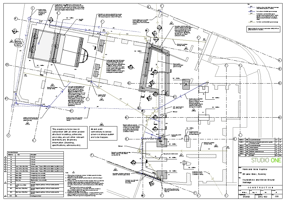 Foundation and drainage layout around existing foundations in Revit