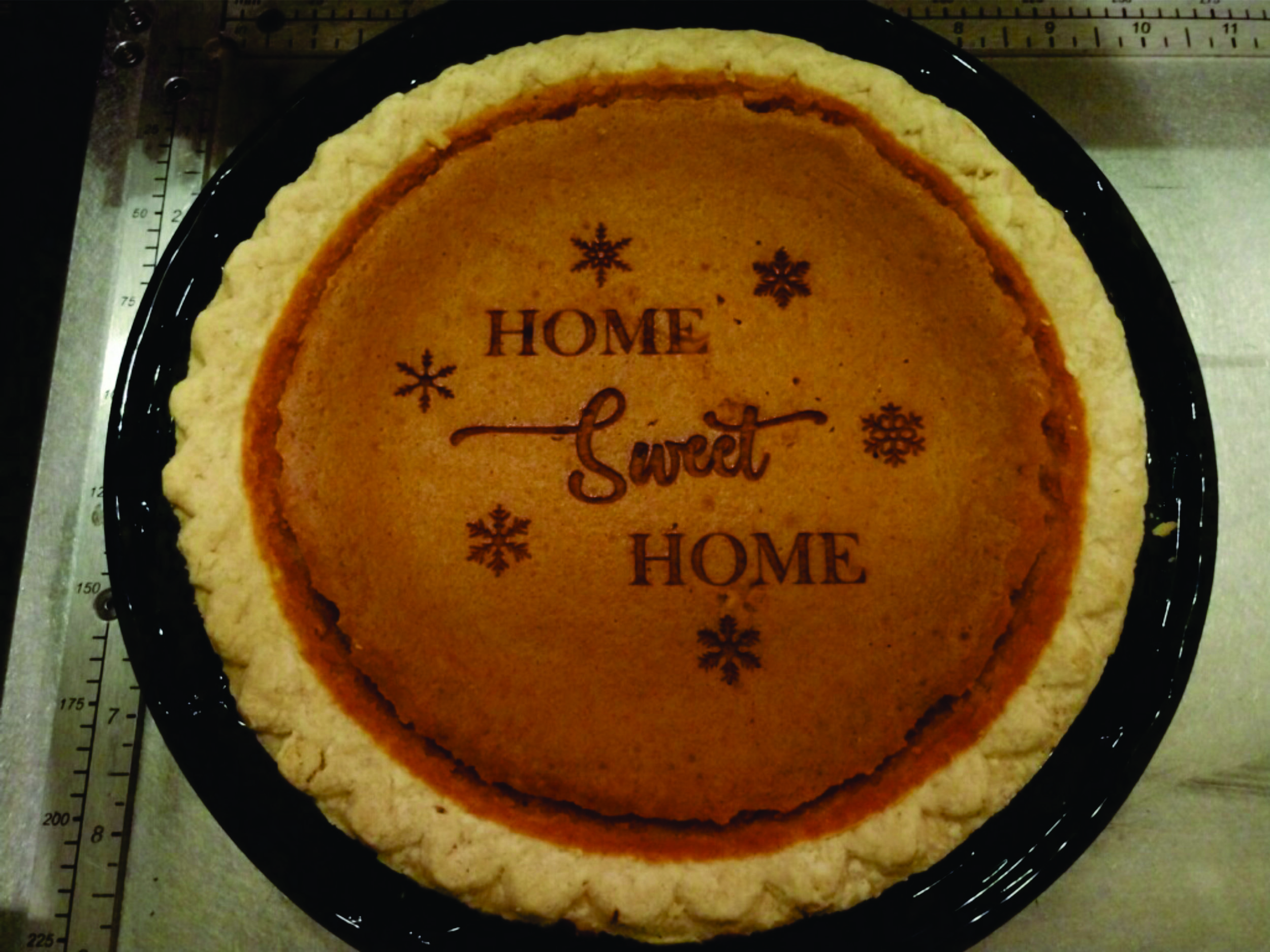 Special engraved Holiday Pumpkin Pie.