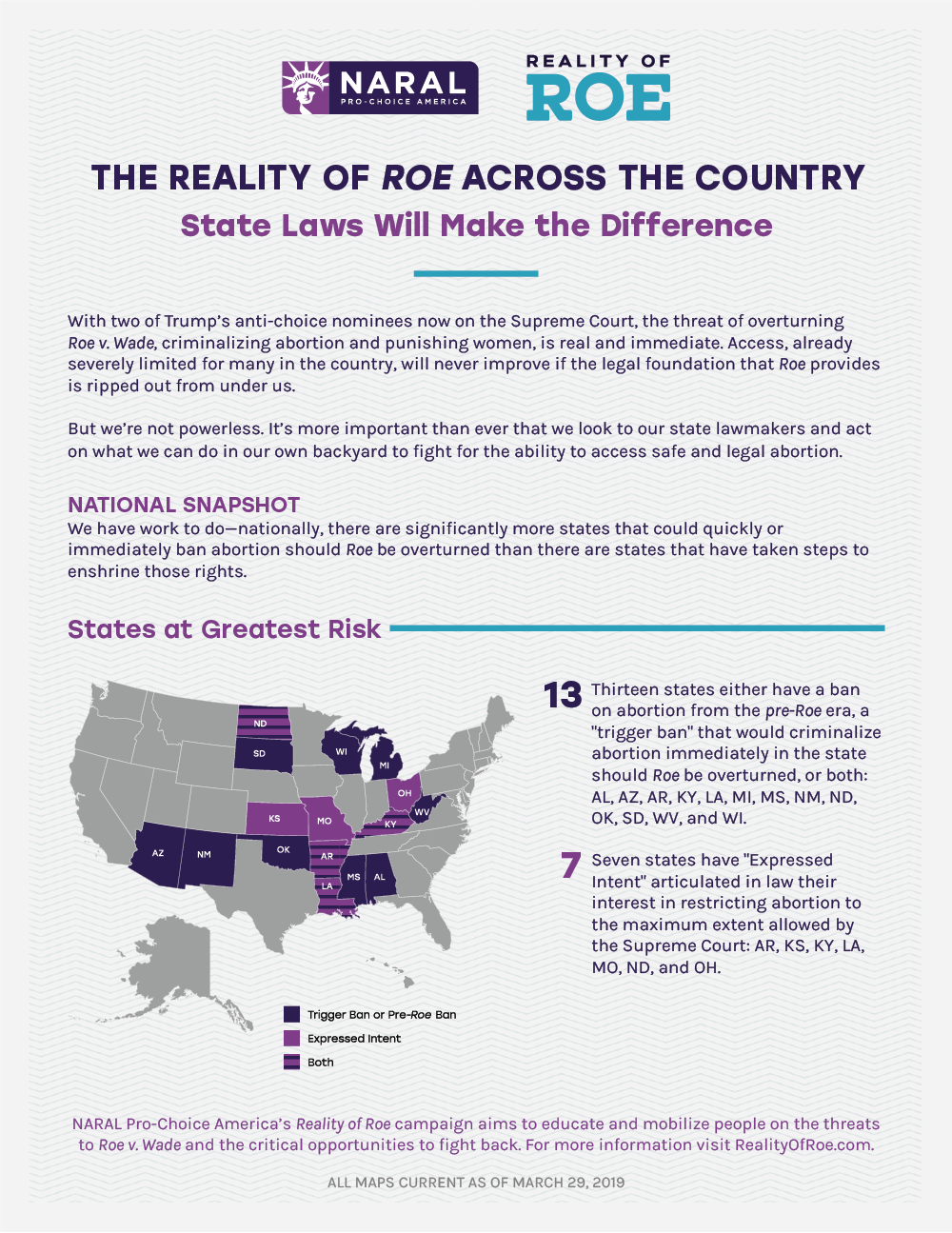 Reality of Roe Factsheet for NARAL Pro-Choice America. March 2019.  PDF