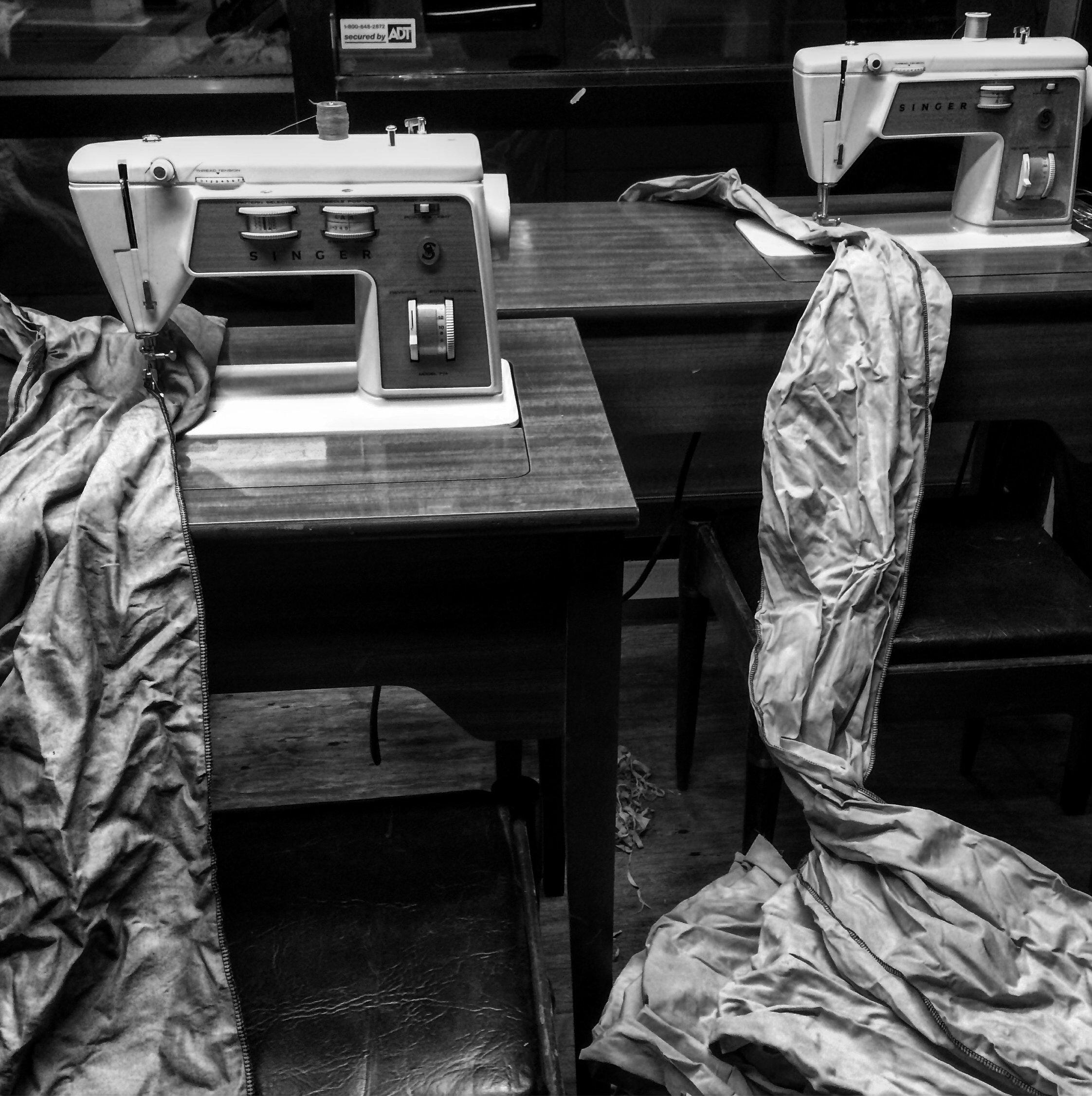 Sewing Machine & Fabric Stacks