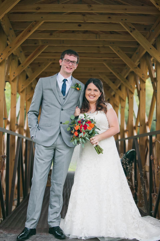 wedding photos on a wooden bridge