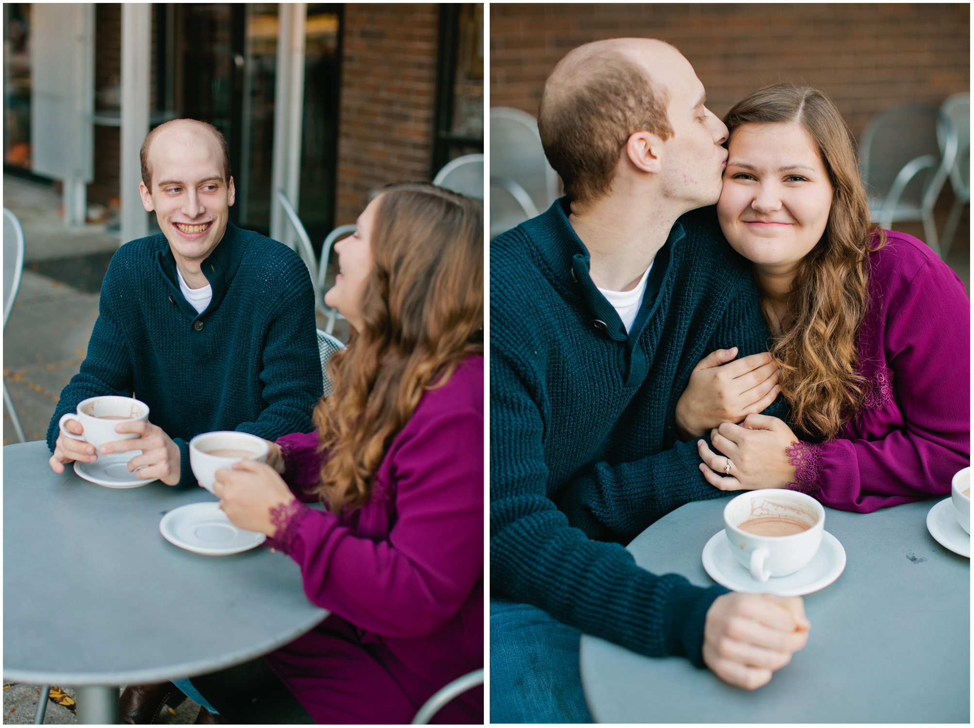 romantic fall engagement photos in a coffee shop