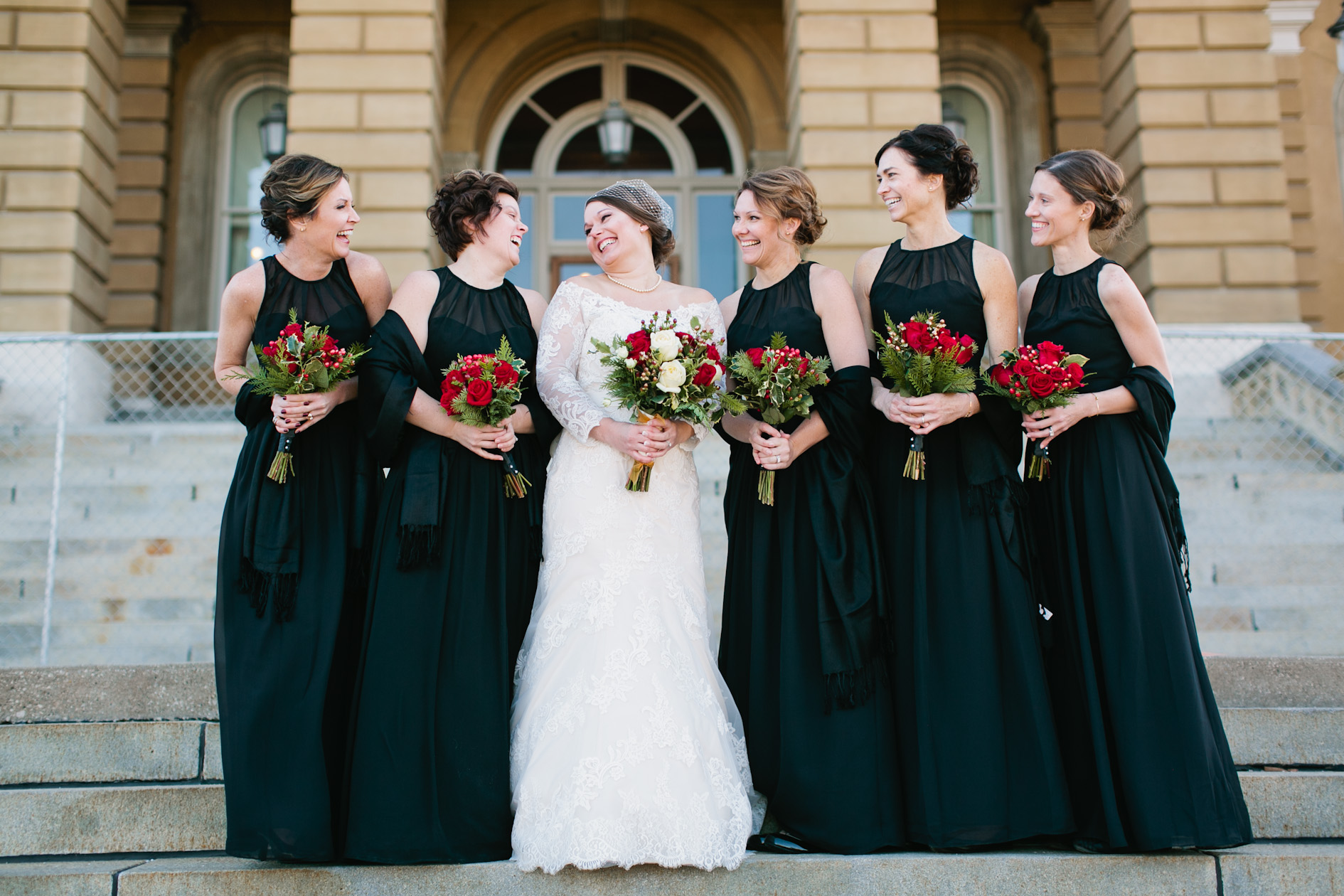 formal winter wedding dresses and red roses