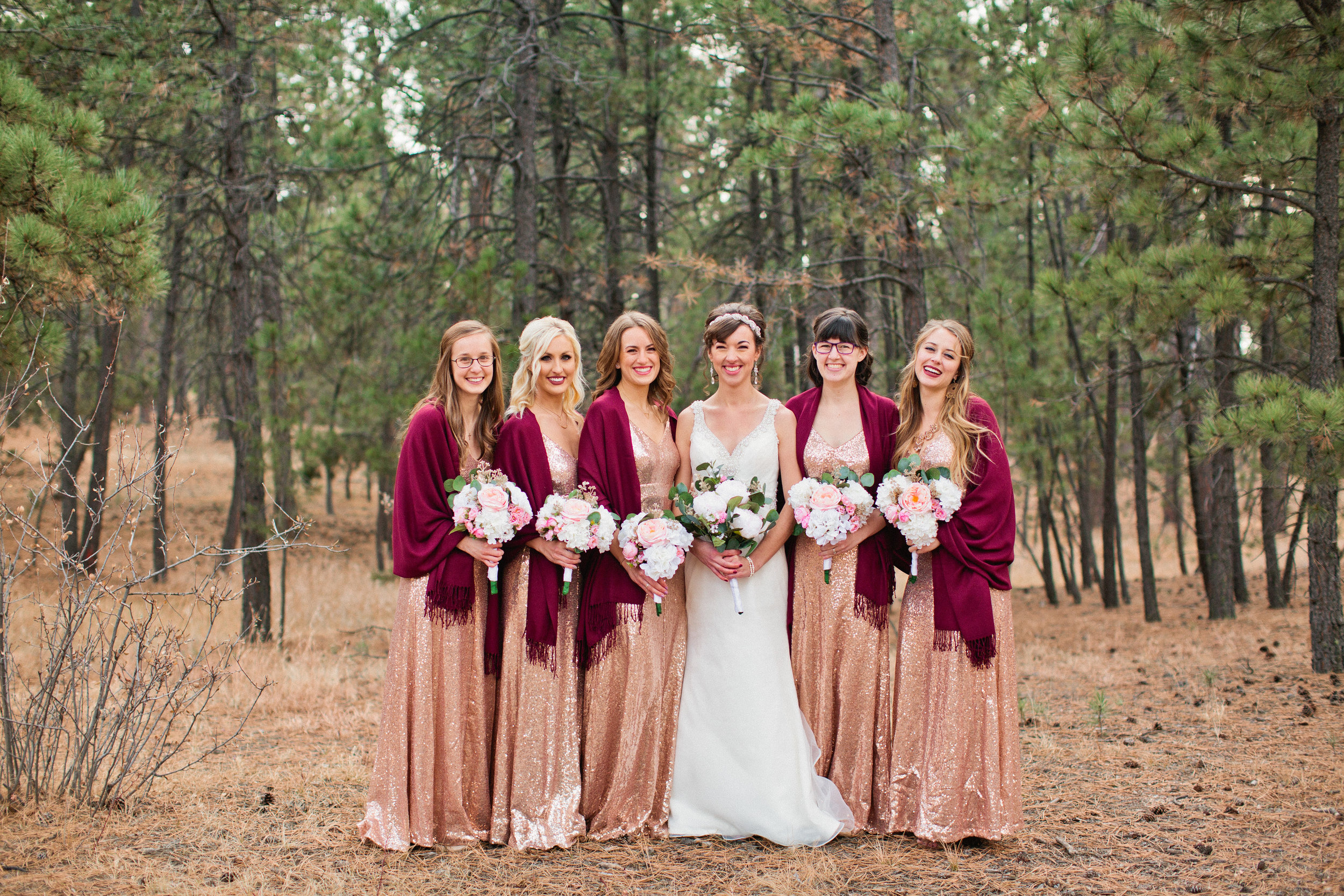 bridal party bridesmaids in rose-gold dresses