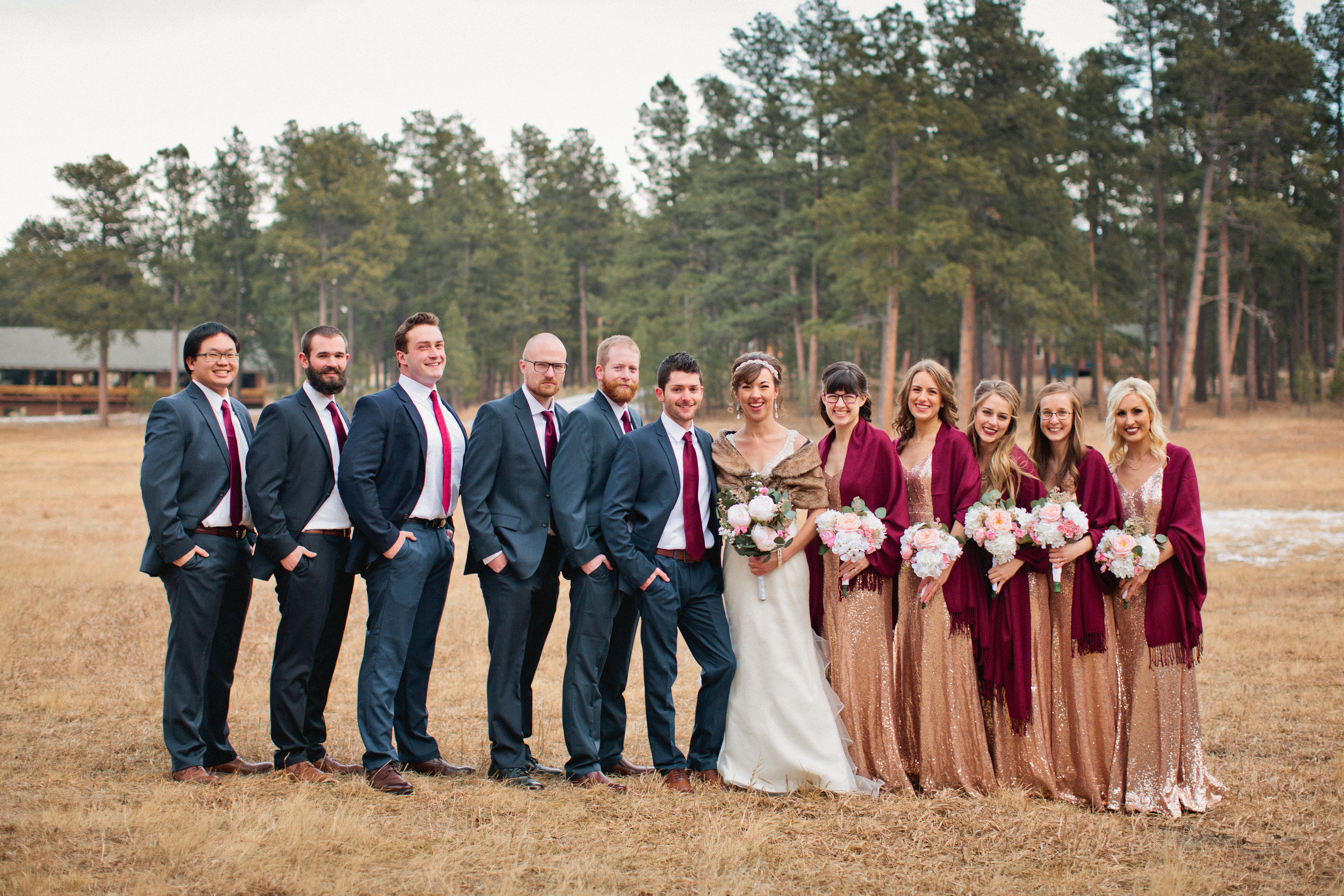 this is one of my favorite bridal party photos. I loved photographing at La Foret and would do it again in a heartbeat! The trees made a gorgeous backdrop and hints of snow reminded us that it was still December.