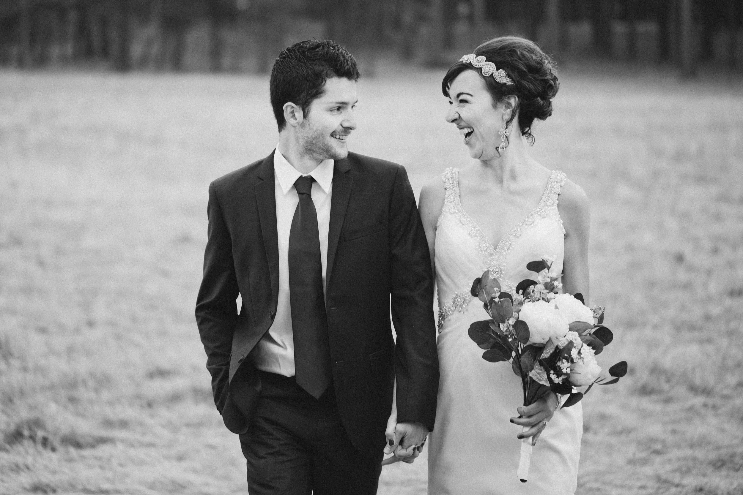 classic black and white film wedding photography