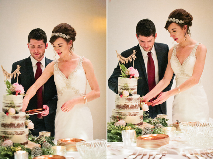 cake cutting naked wedding cake