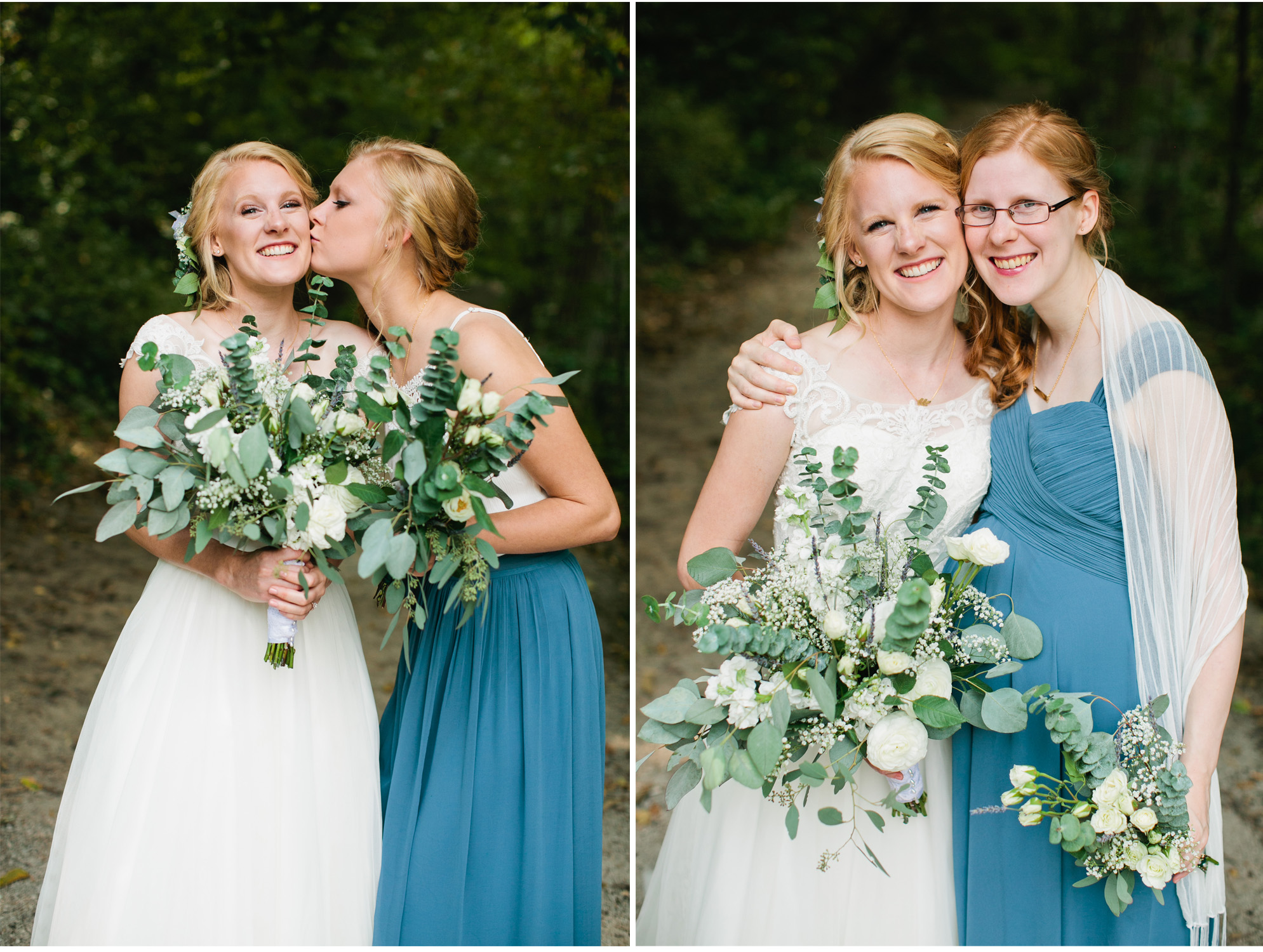 bridal bouquets with eucalyptus leaves and white flowers