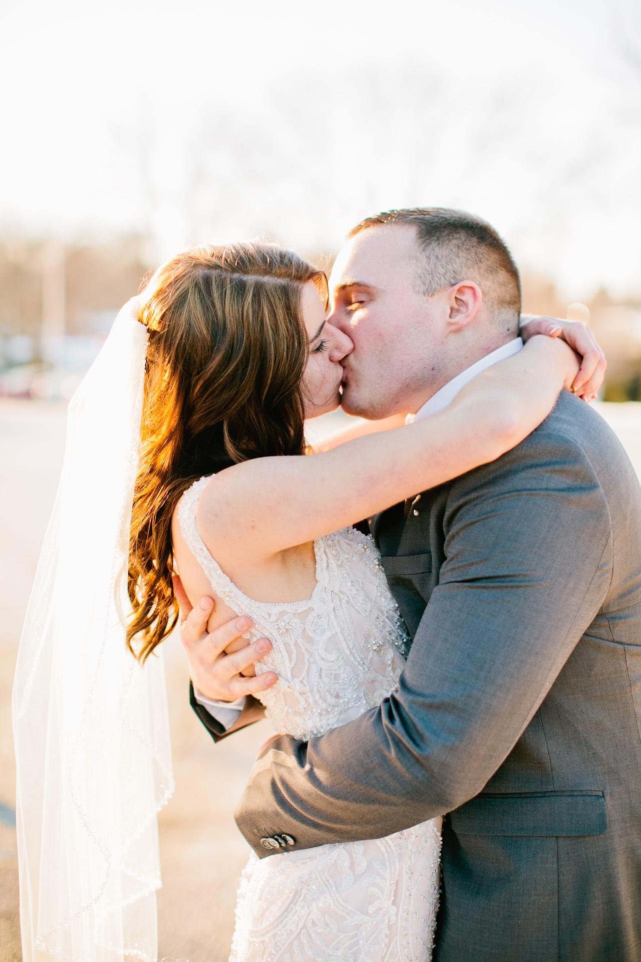 golden-hour-wedding-photos in parking lot