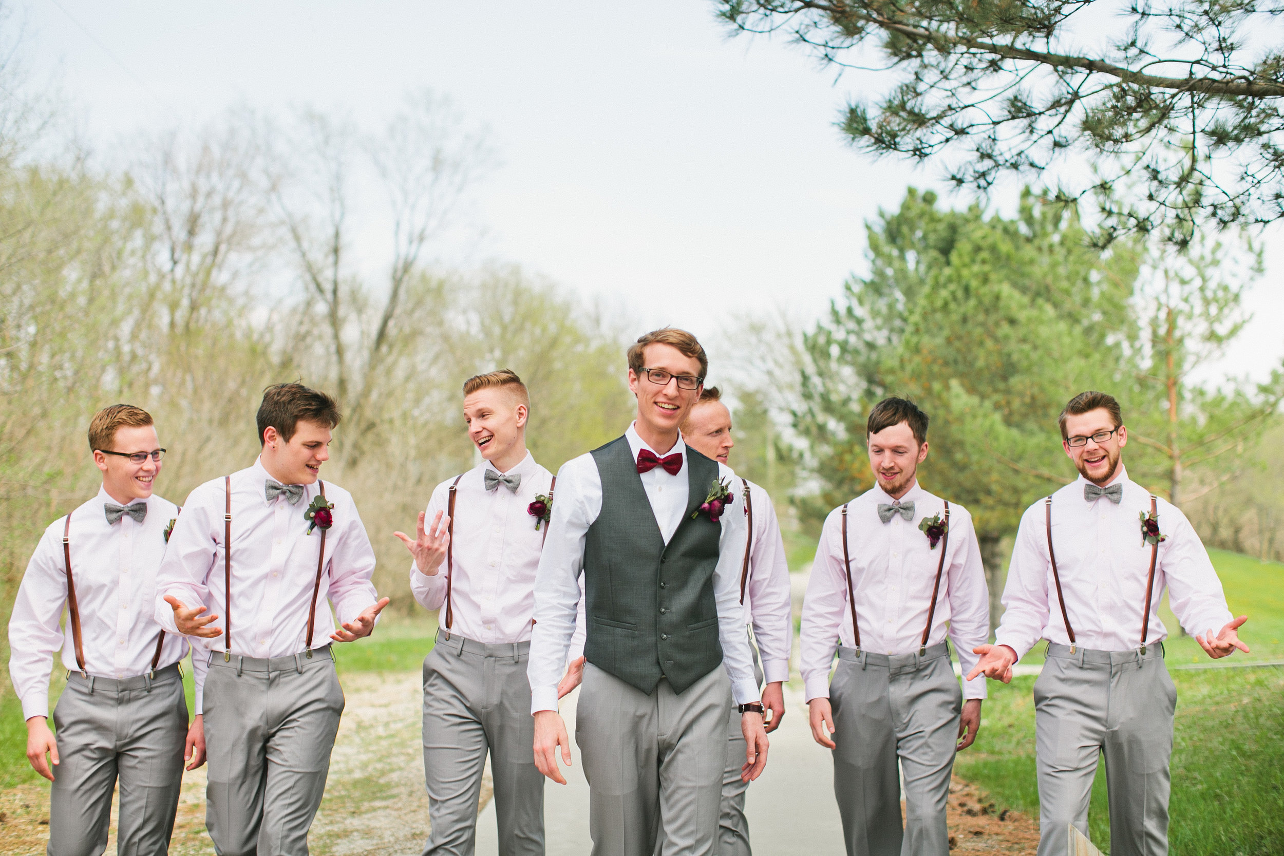 outdoor spring wedding grey and blush and maroon colors