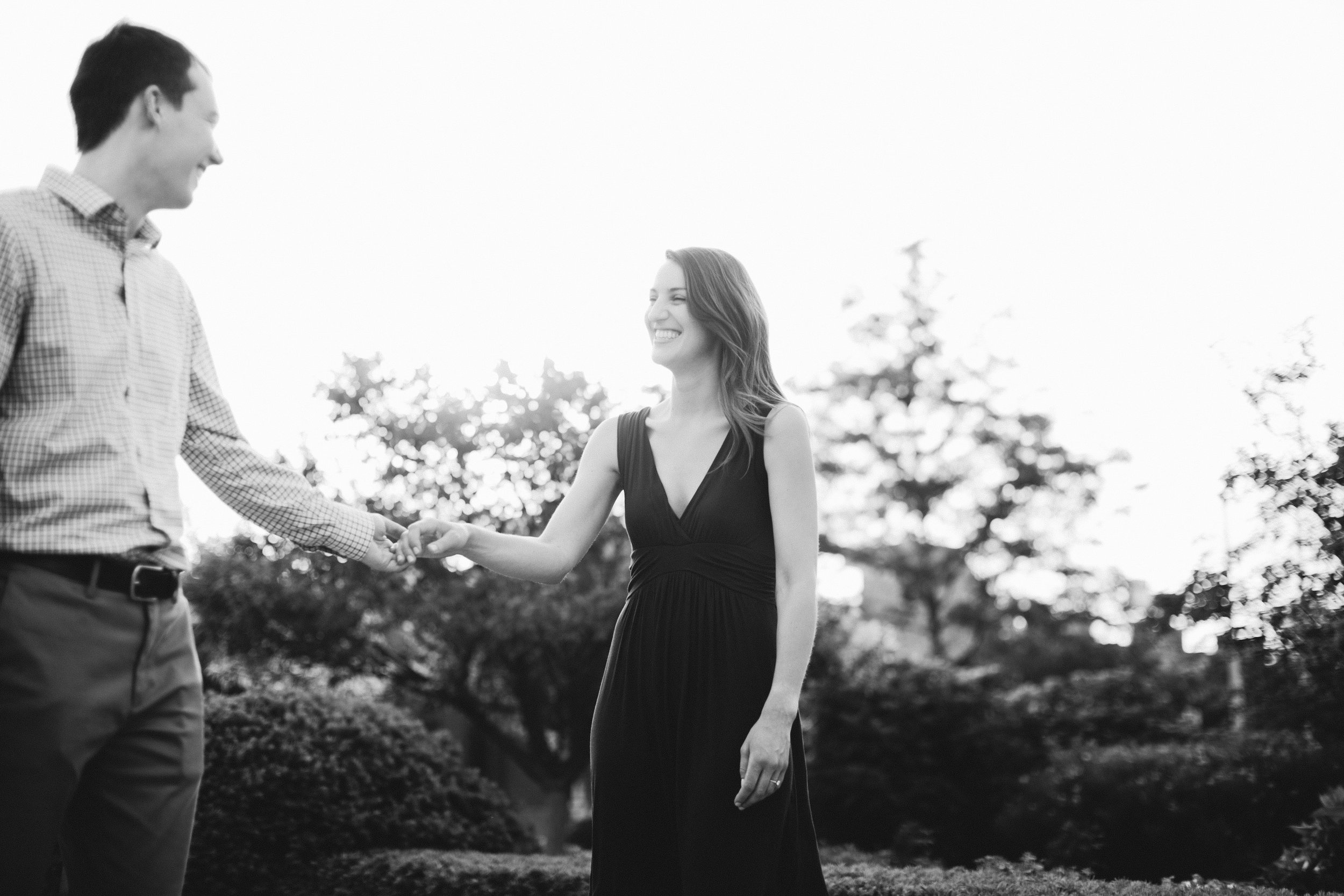 classic black and white engagement photos in Des Moines Botanical Gardens