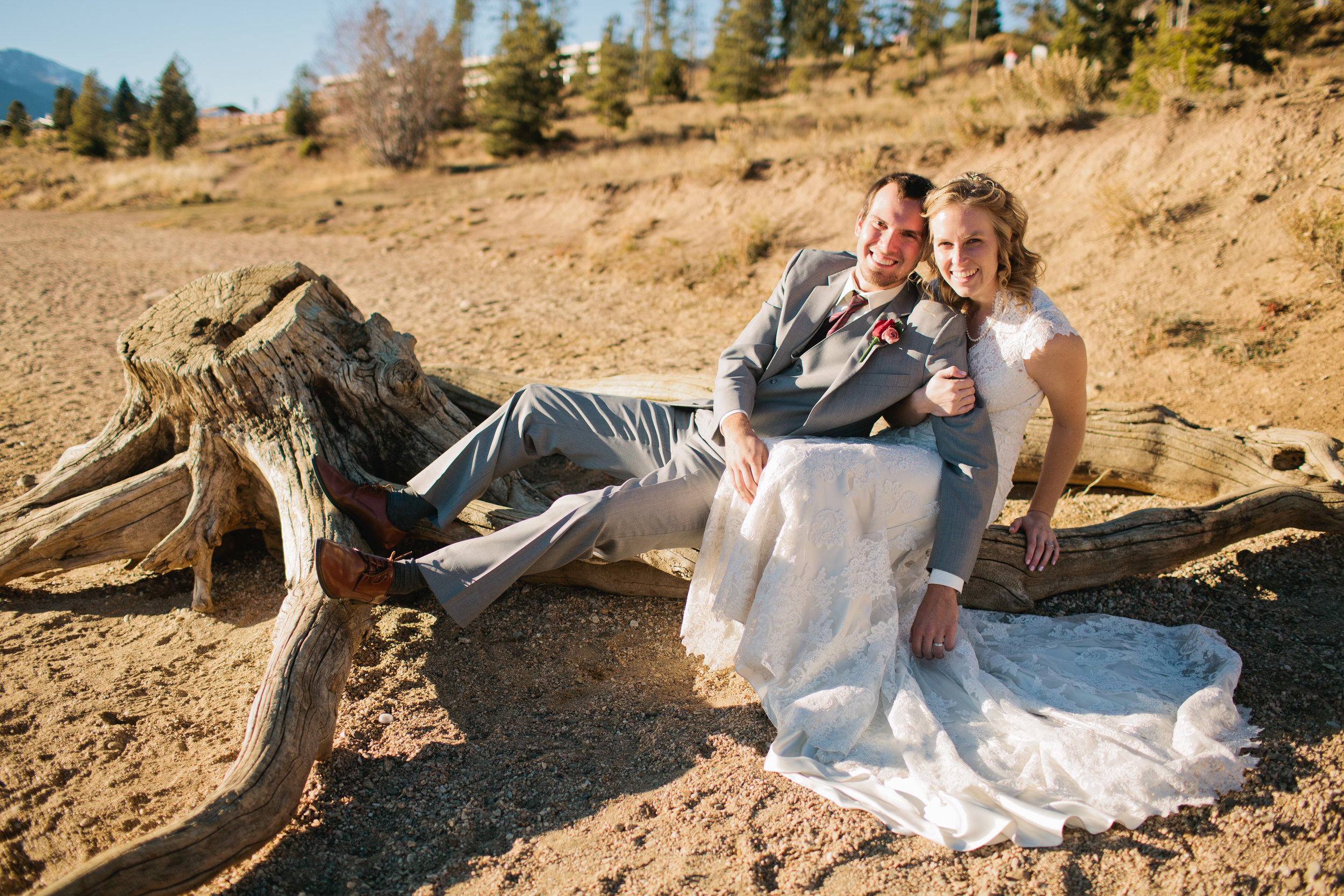 bride and groom being silly on tree branch colorado wedding photography