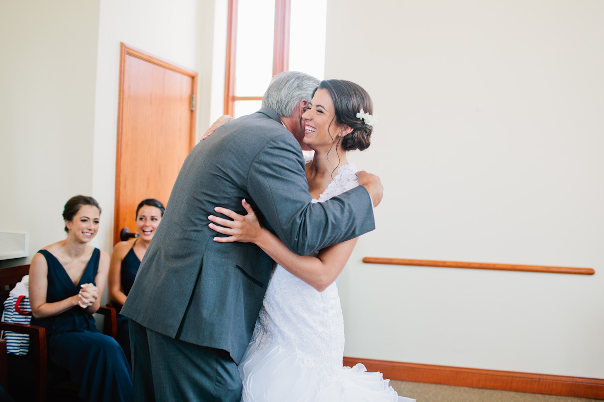 bride and dad have a teary first look