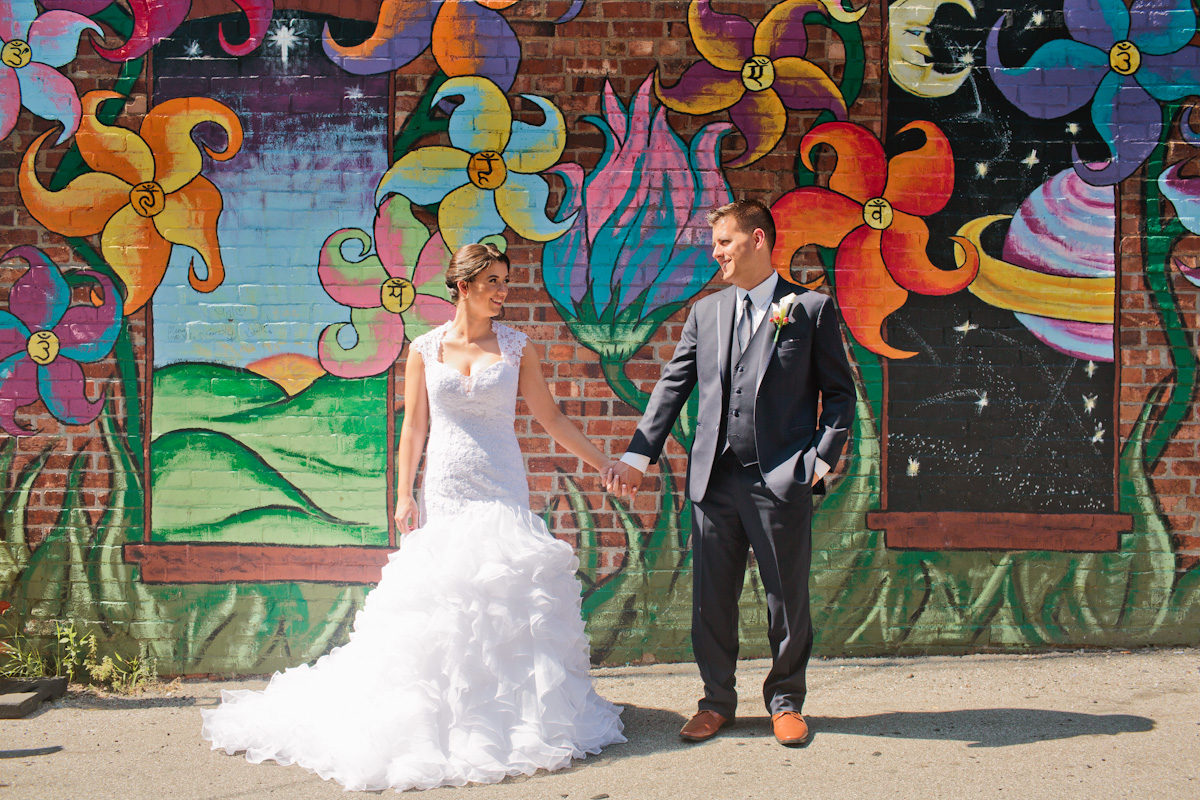 east village wedding photos by mural outside Tacopacolypse