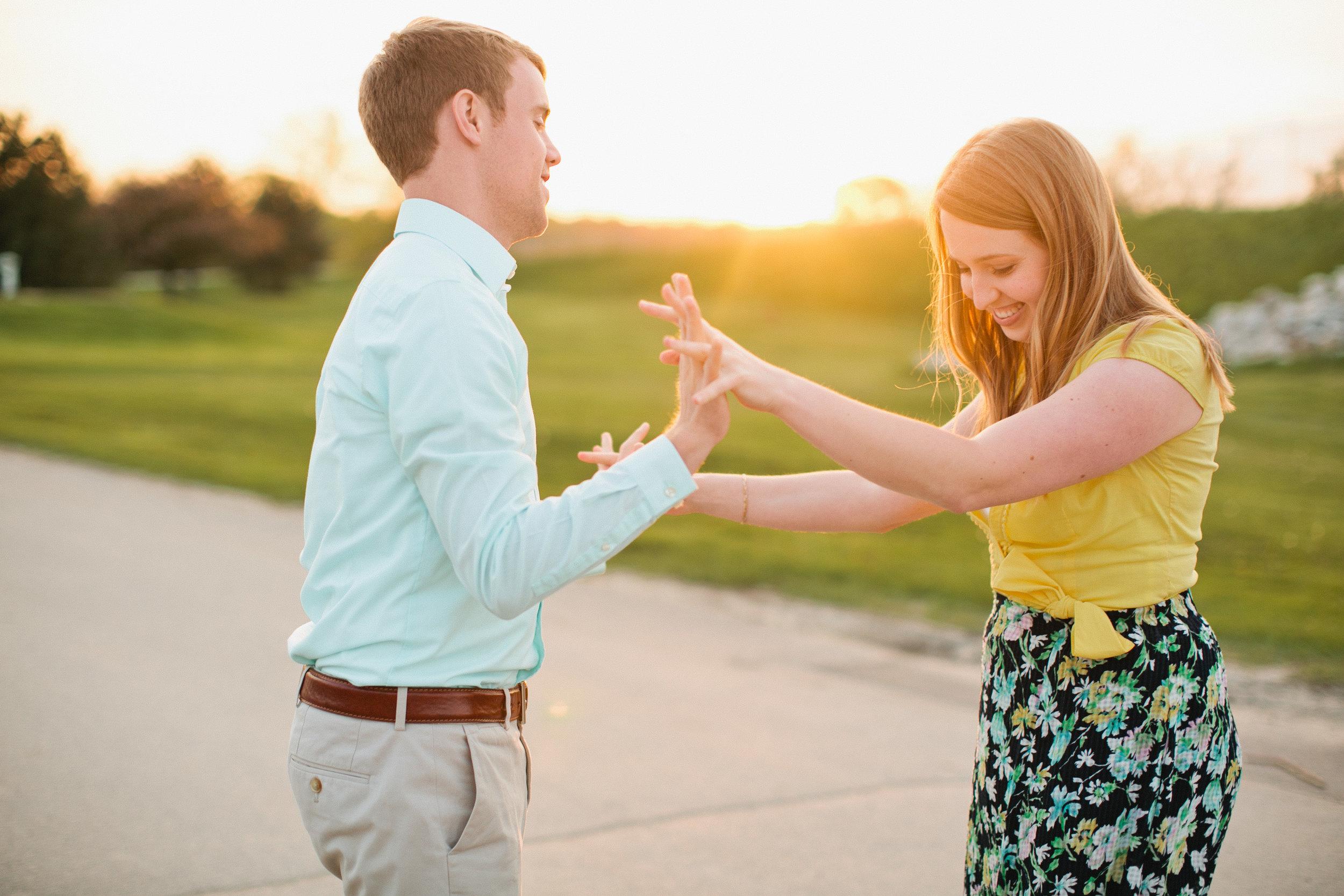 Des Moines sunset engagement photographers