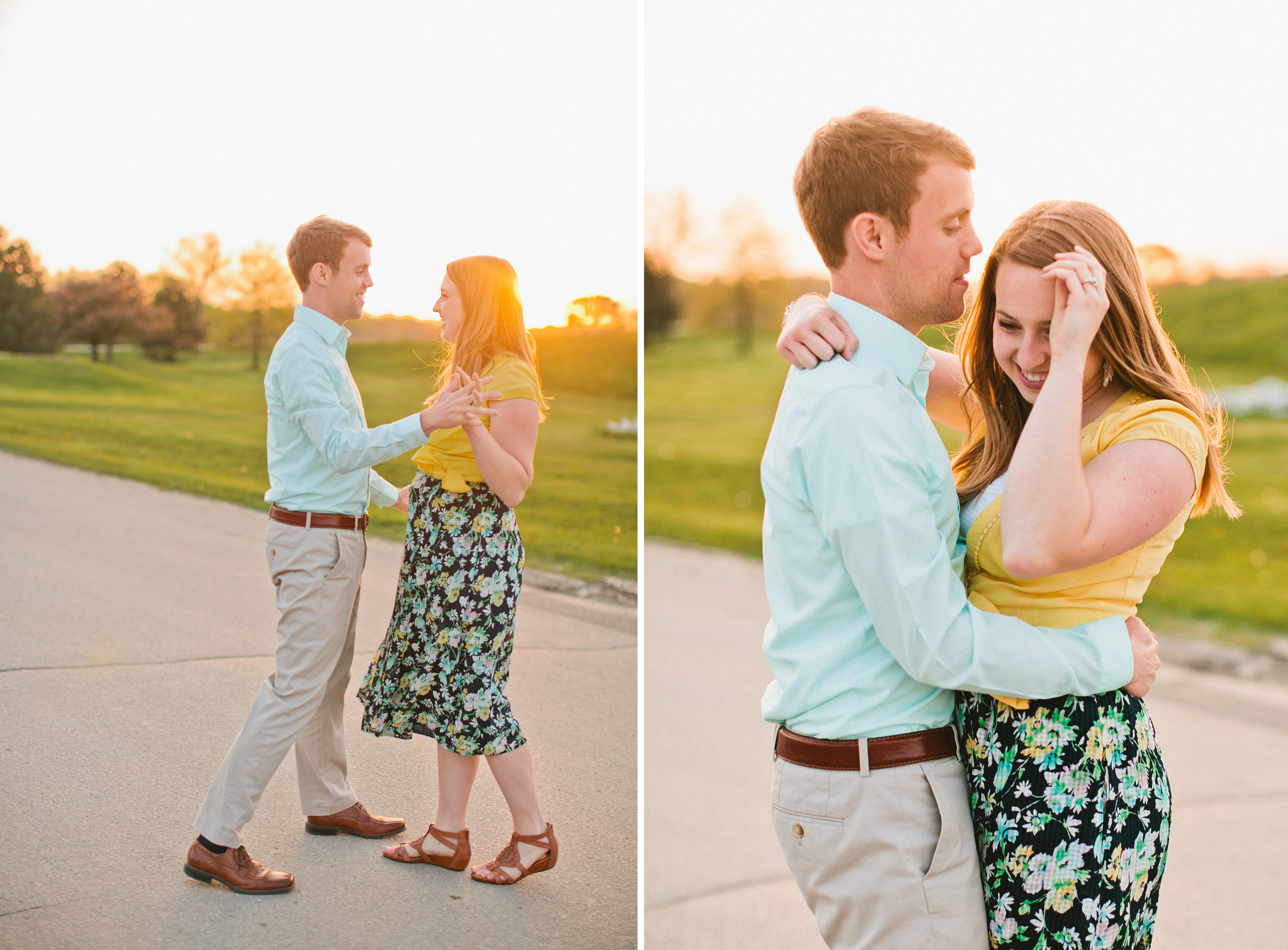 couple dancing at sunset wedding photographers Des Moines