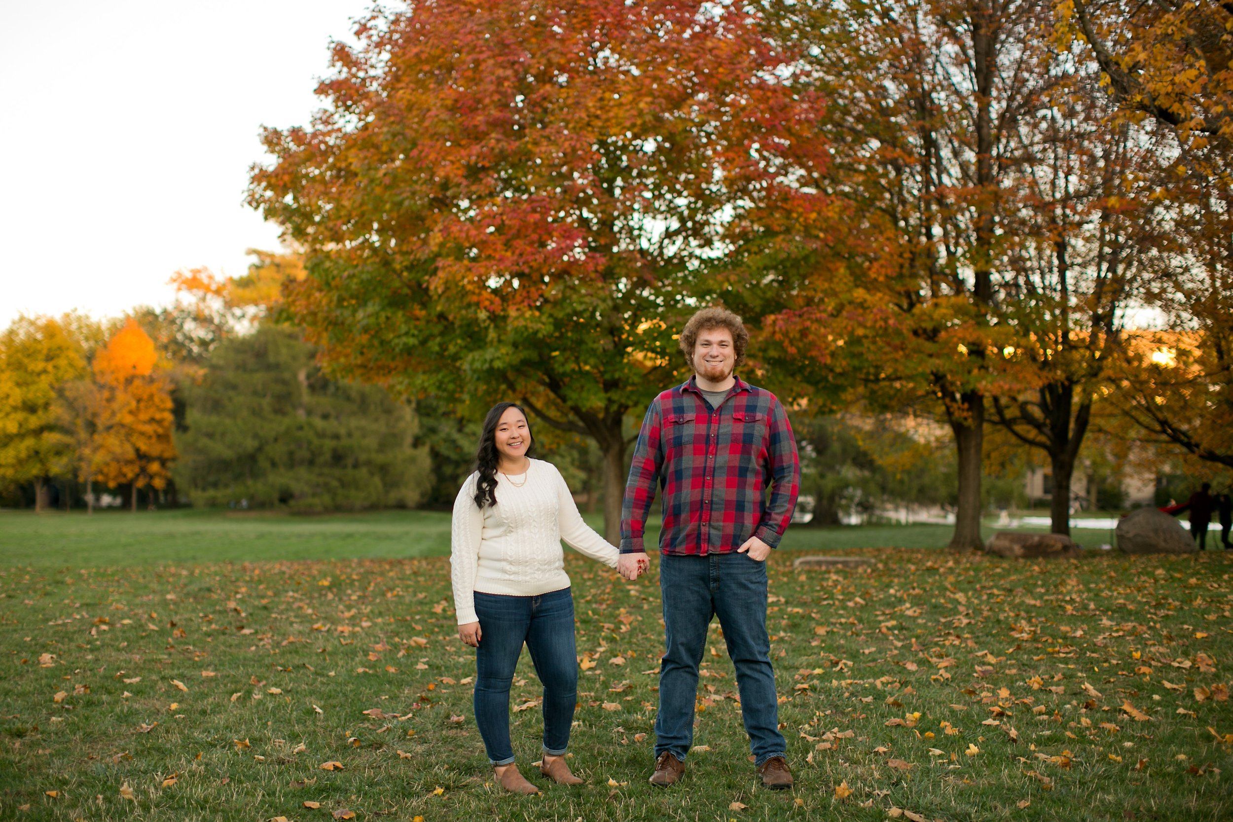 fall engagement photos at Iowa State University central campus