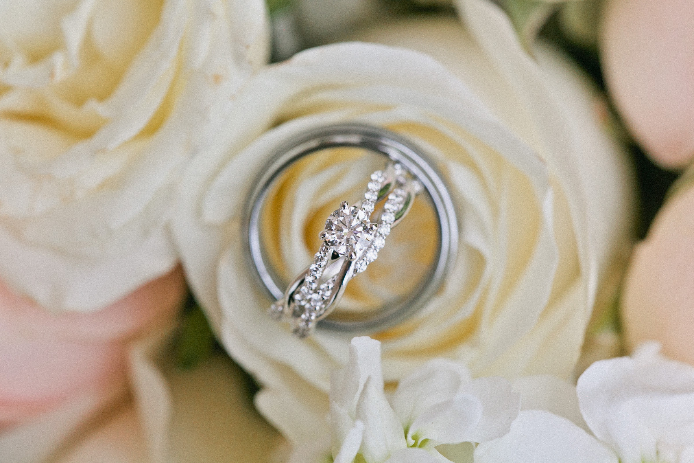 diamond wedding and engagement band in yellow and pink roses