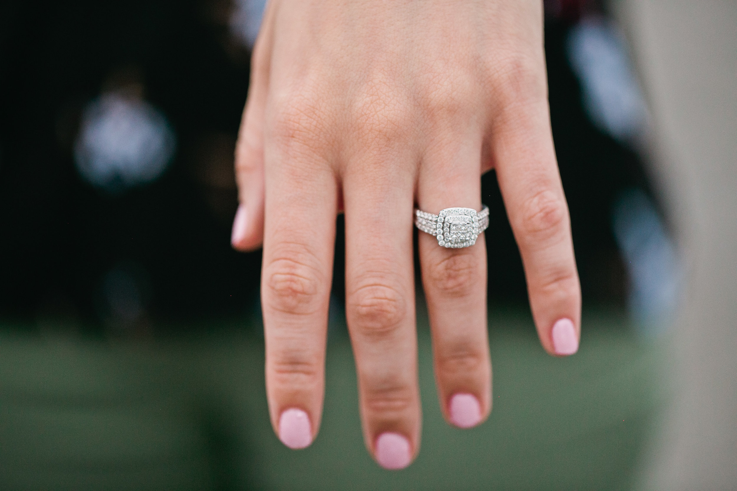 check out that ring!!! it is gorgeous! so sparkly. three layers of halo diamonds square vintage engagement ring
