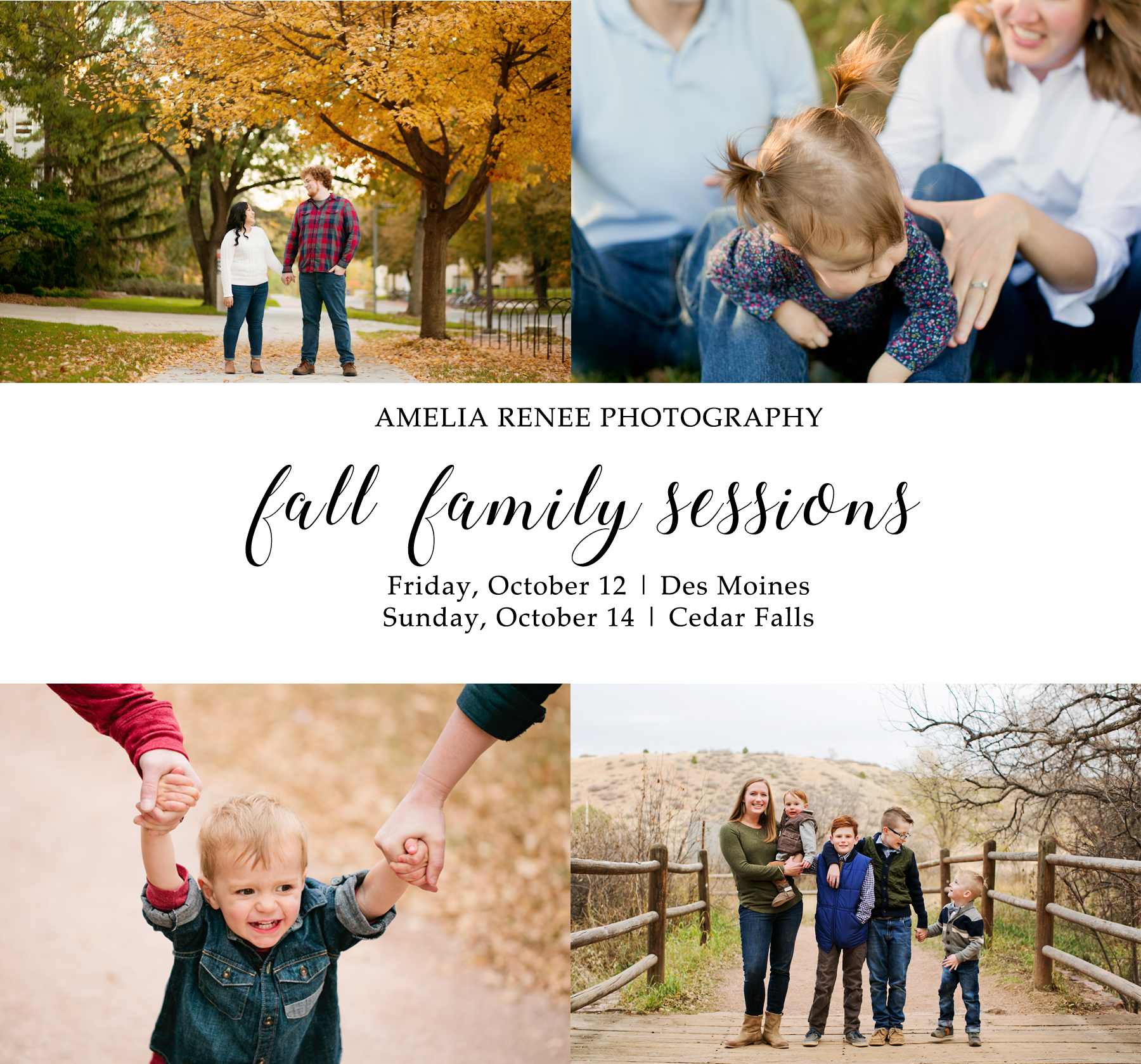fall iowa family photographer mini-session pricing and location