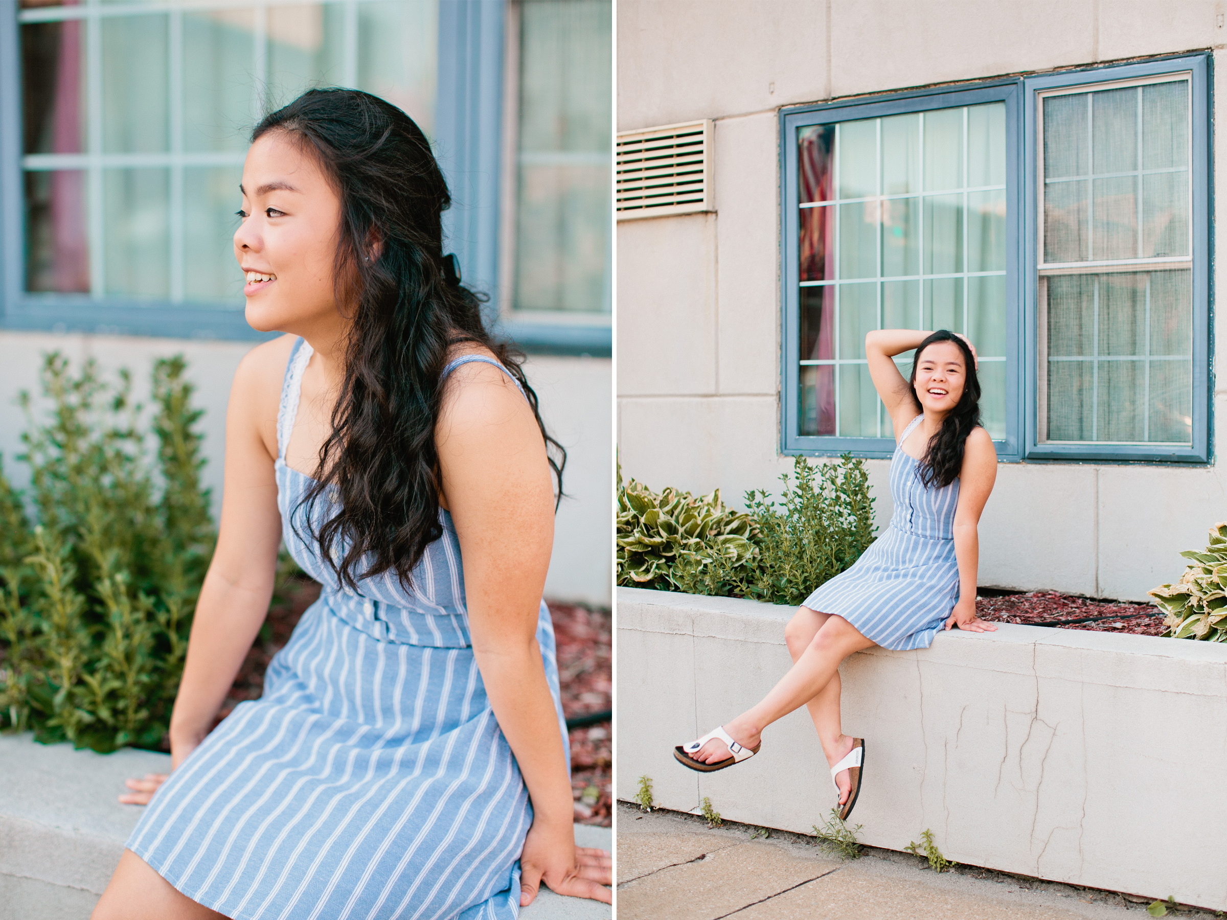 what to wear senior photos light blue dress with white stripes
