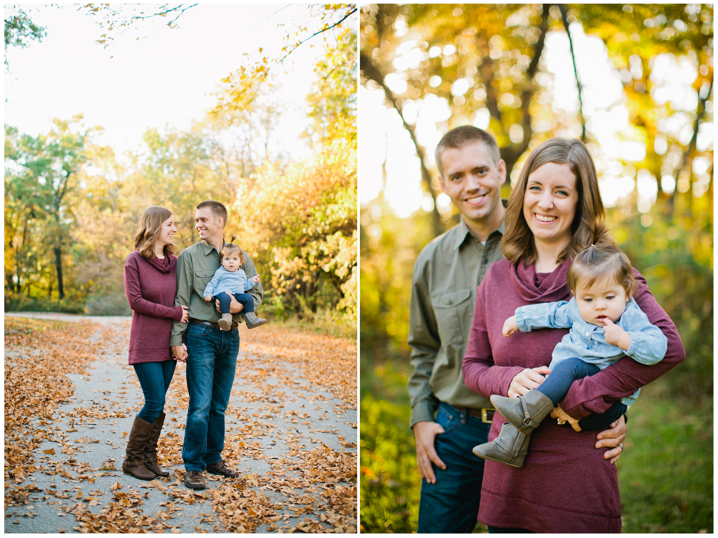 Ankeny Saylorville family photos wearing blue jeans, brown riding boots, and maroon and green shirts with baby girl
