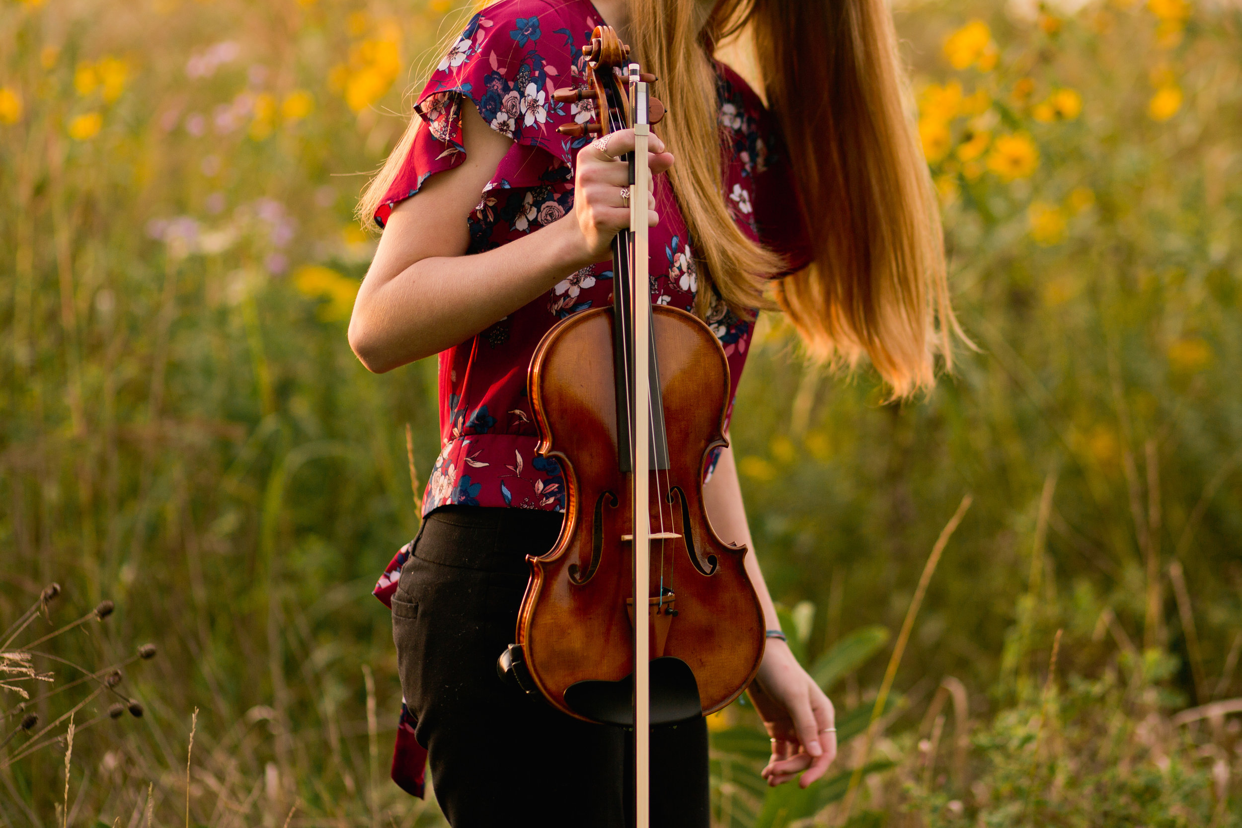 senior photos with violin and in field of flowers
