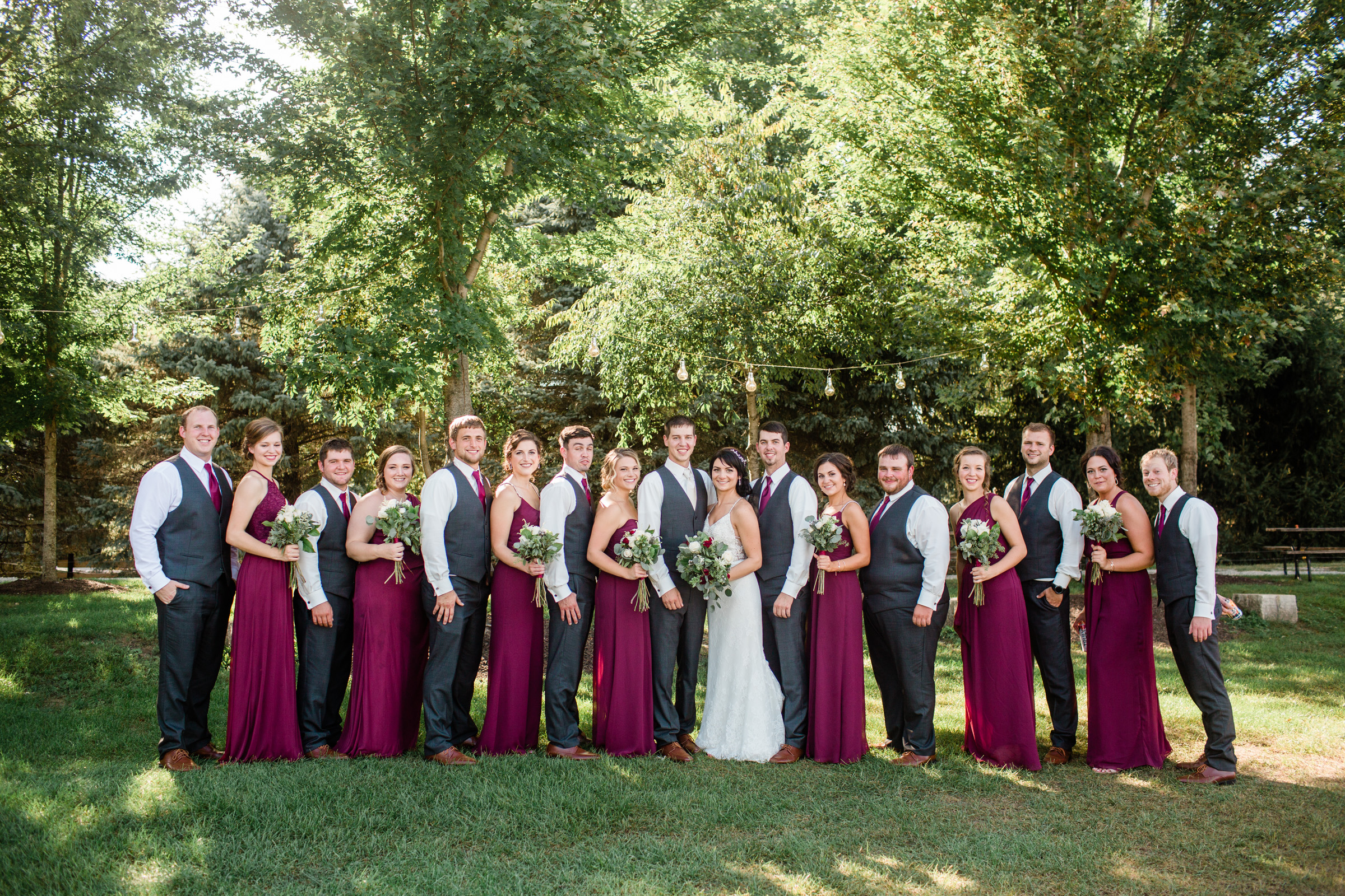 wedding party photos at Prairie Moon Winery in Ames Iowa