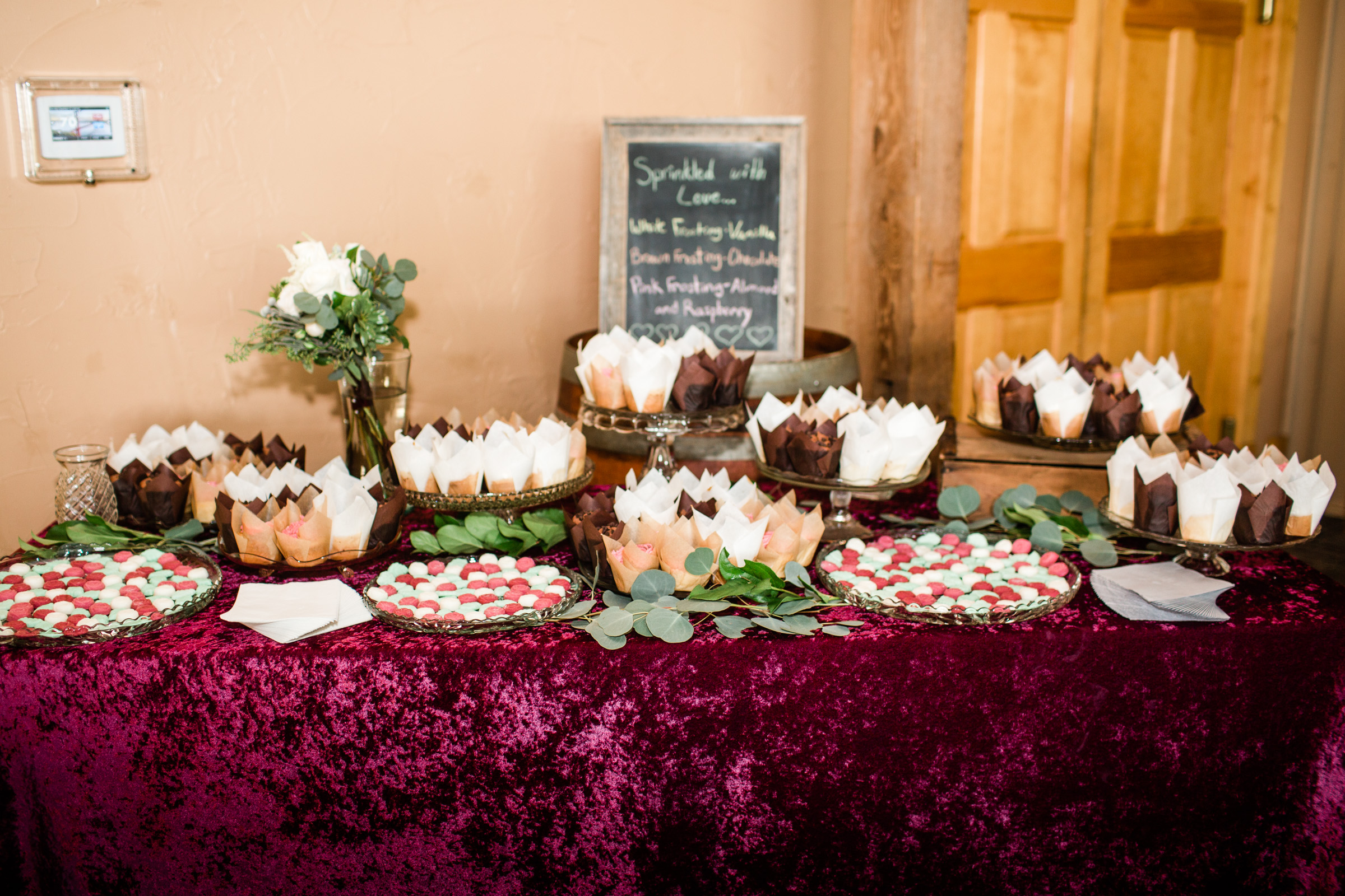 cupcake table scratch cupcakes at wedding