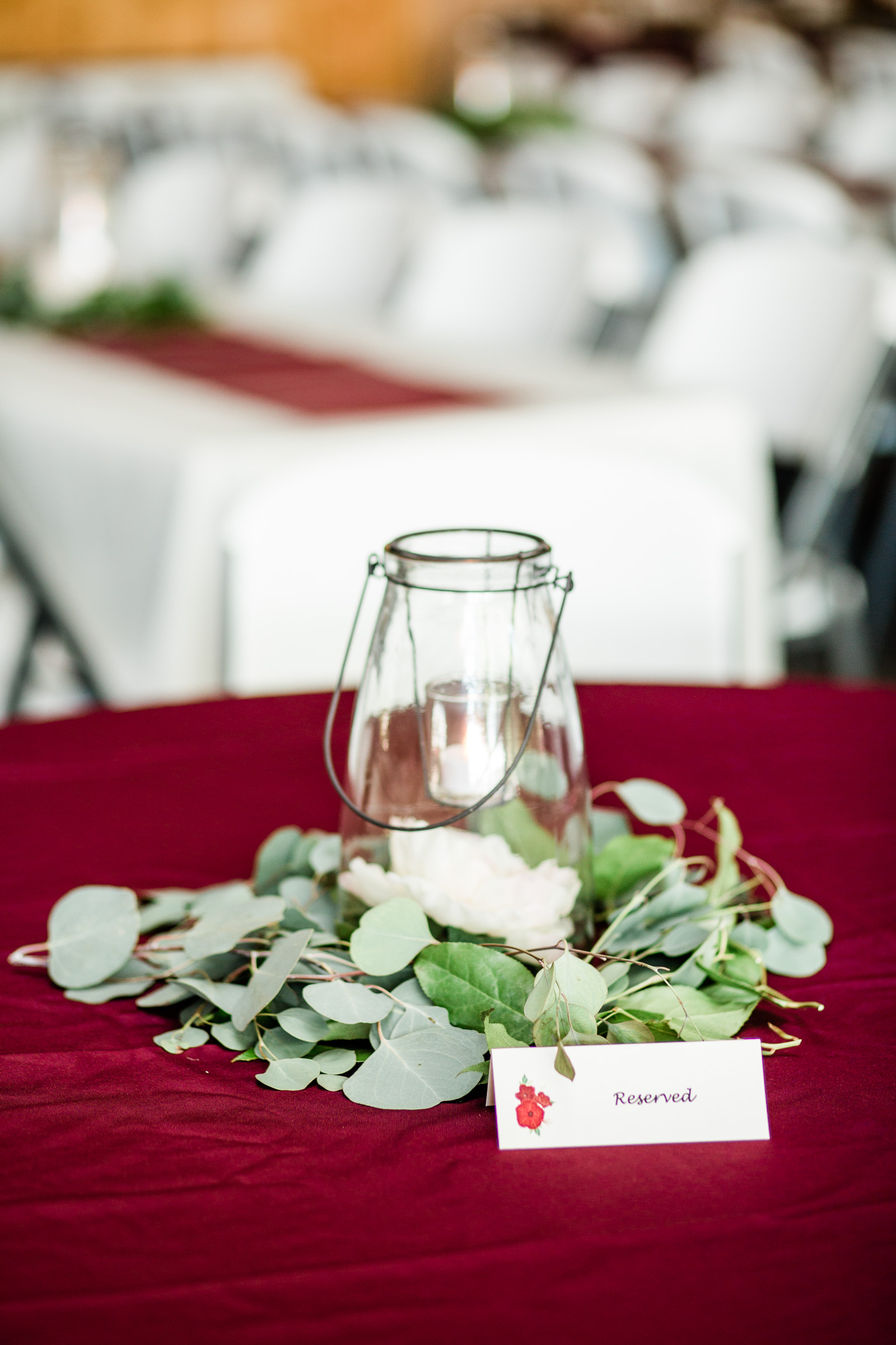 clear glass lantern wedding table decor ideas eucalyptus leaves