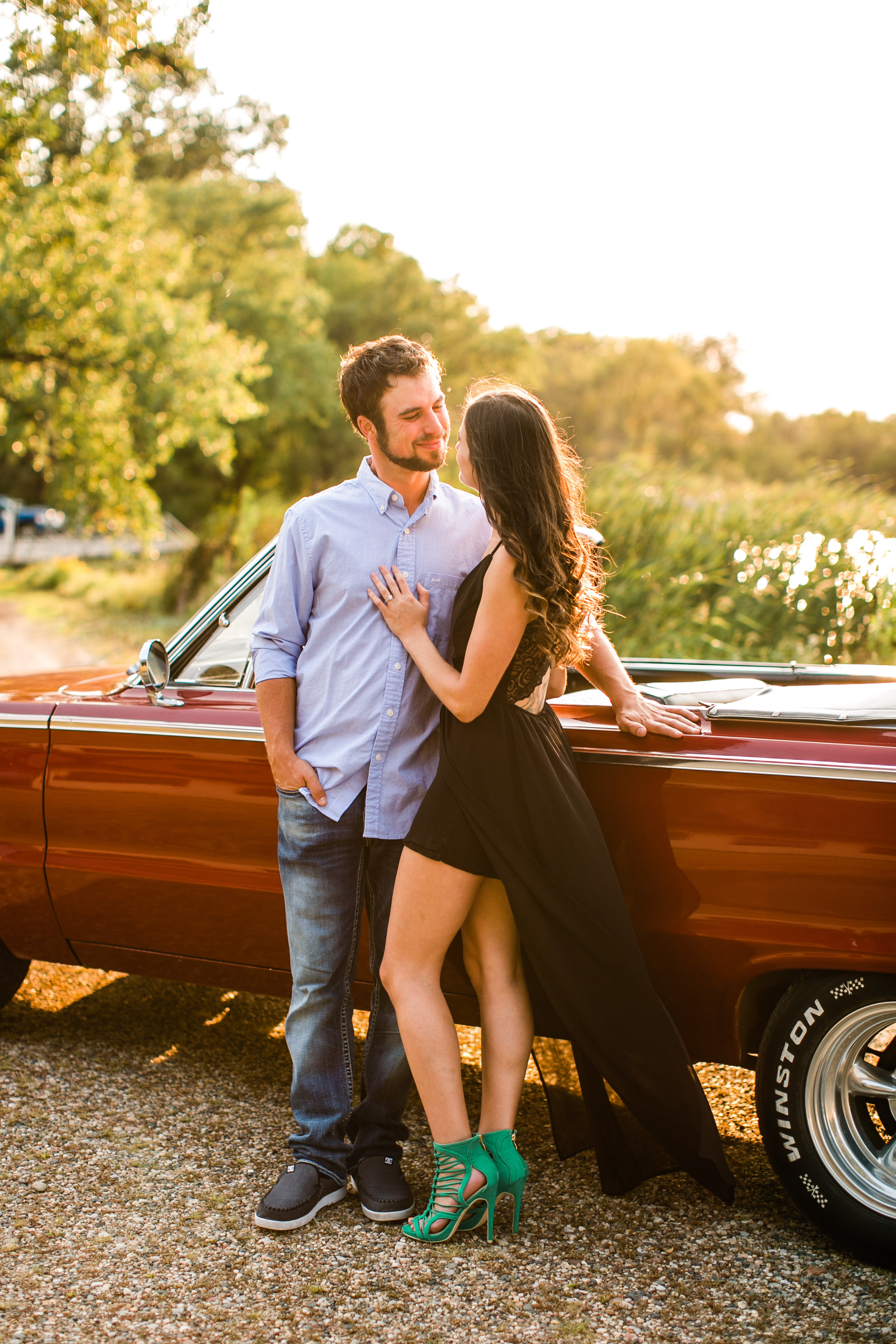 formal dress and vintage car styled engagement photos iowa city