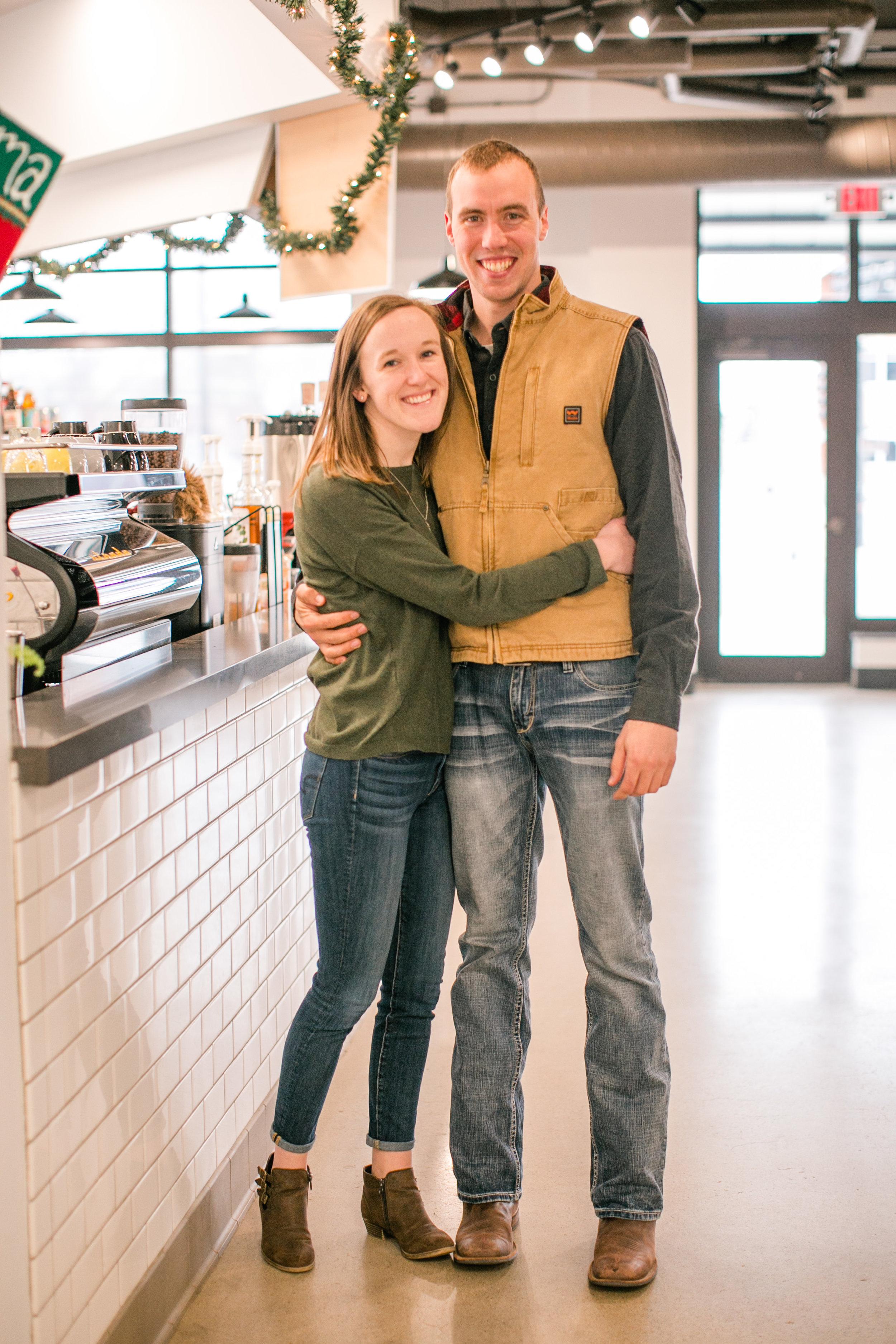 cute coffee shop engagement photos waterloo iowa cedar falls sidecar