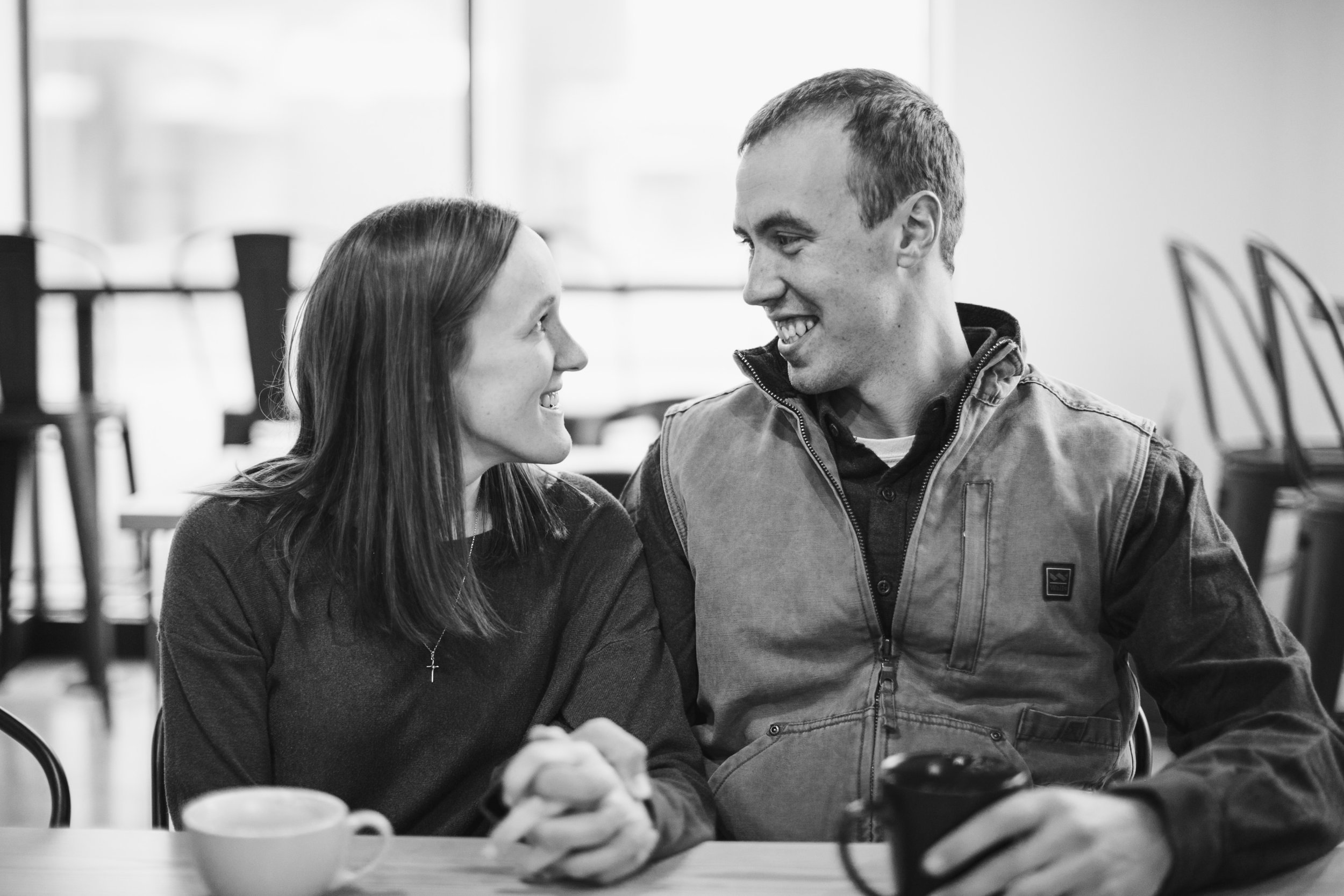 engagement photos of couple who love coffee farmer