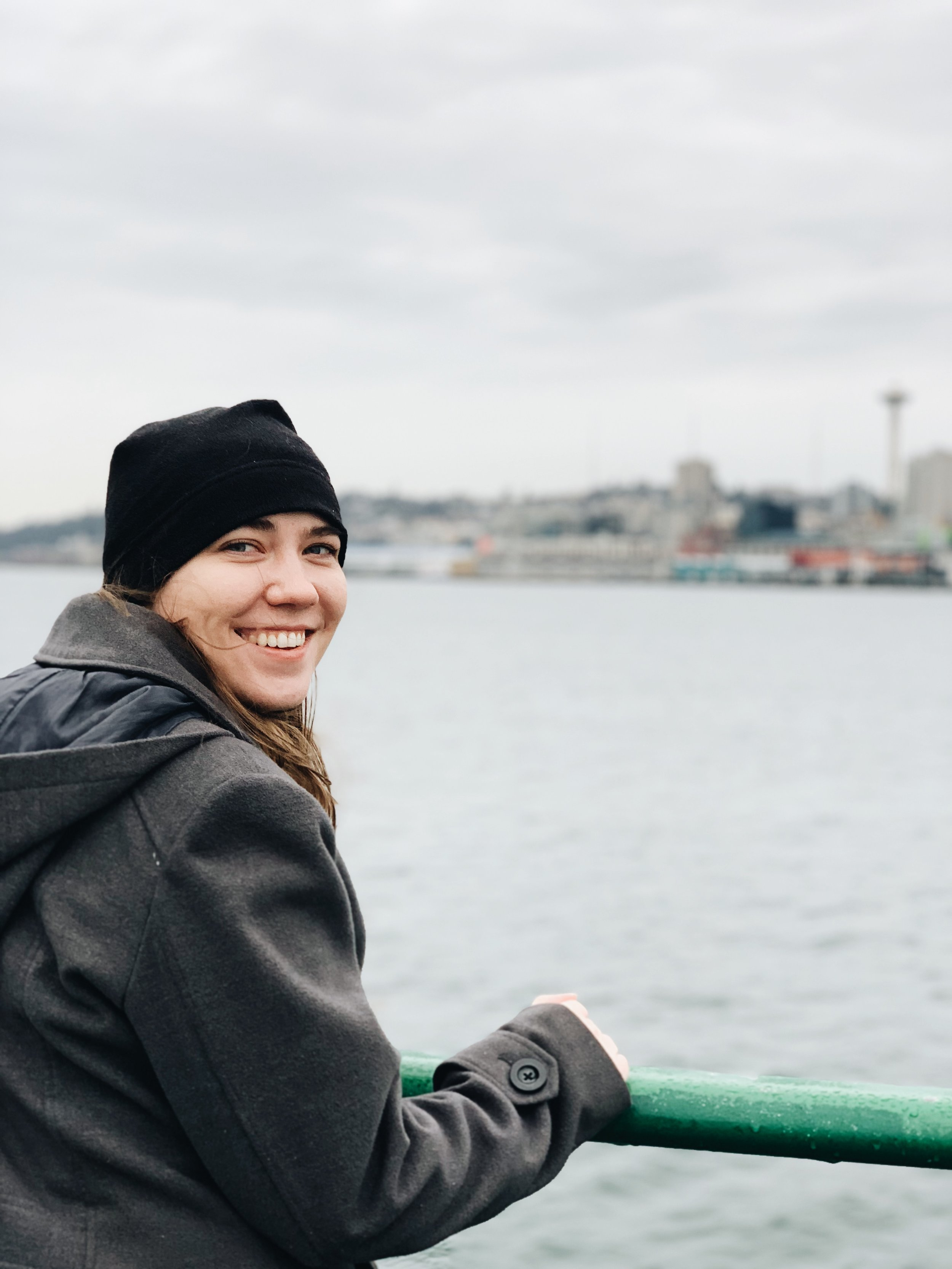 Heather riding the ferry to the island from Seattle in January