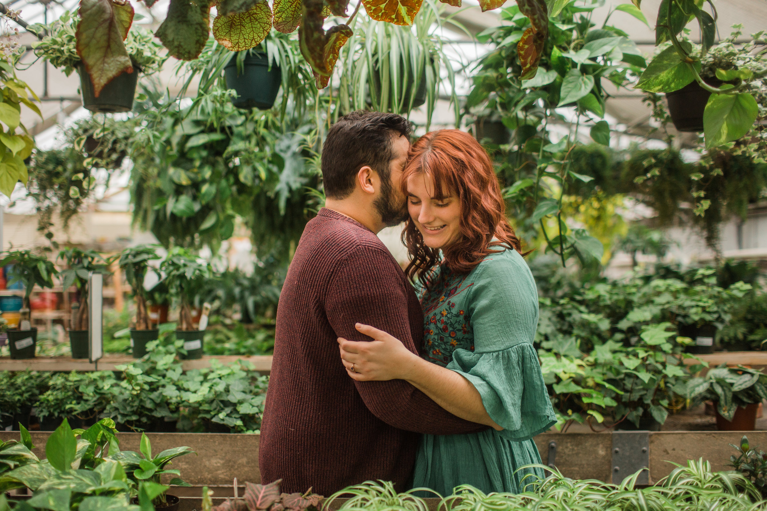 greenhouse engagement photos winter