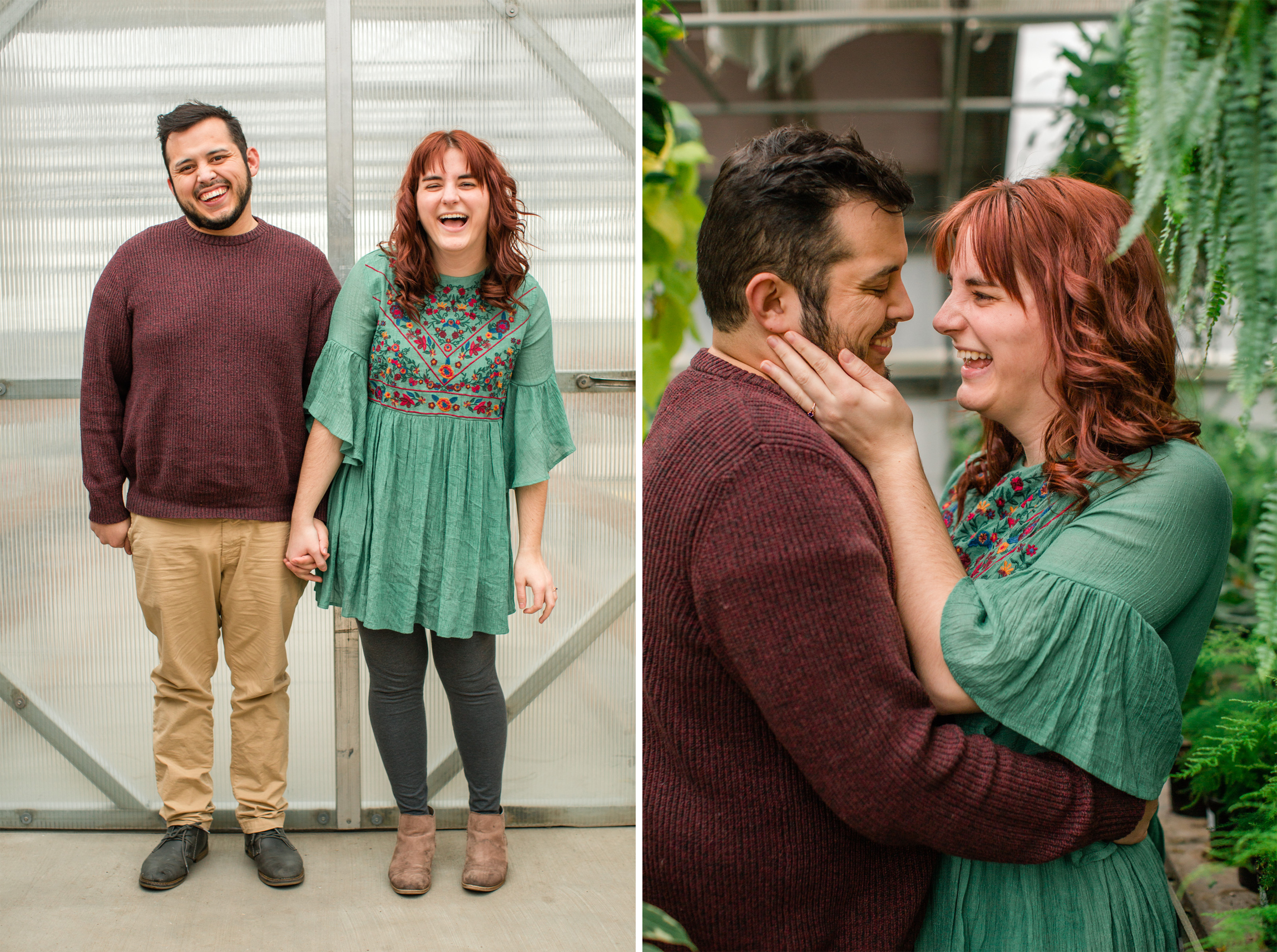 engagement pictures in a greenhouse des moines iowa