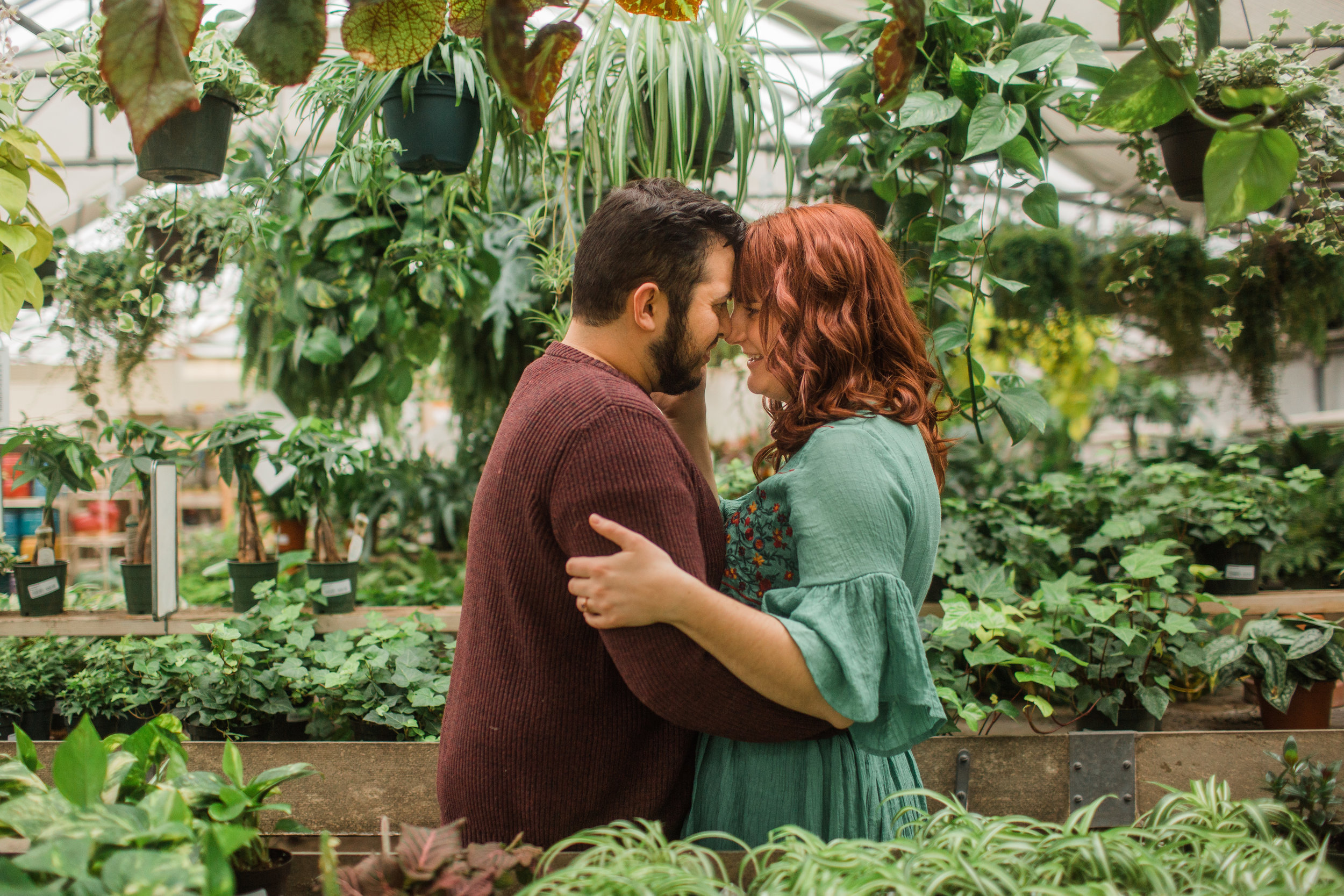 greenhouse engagement session winter Iowa Midwest des moines Amelia renee